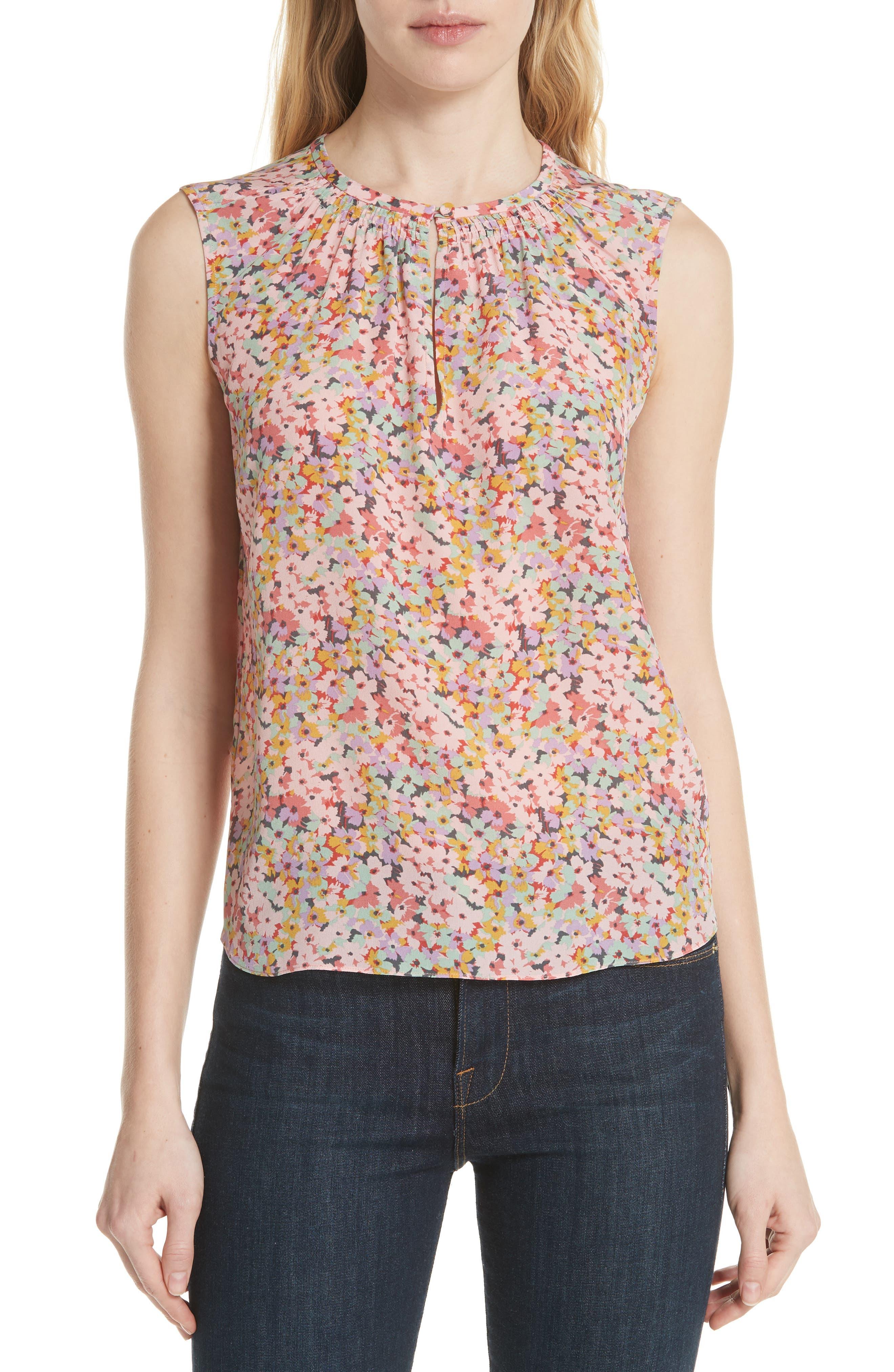 Margo Floral Sleeveless Silk Top,                         Main,                         color, 686