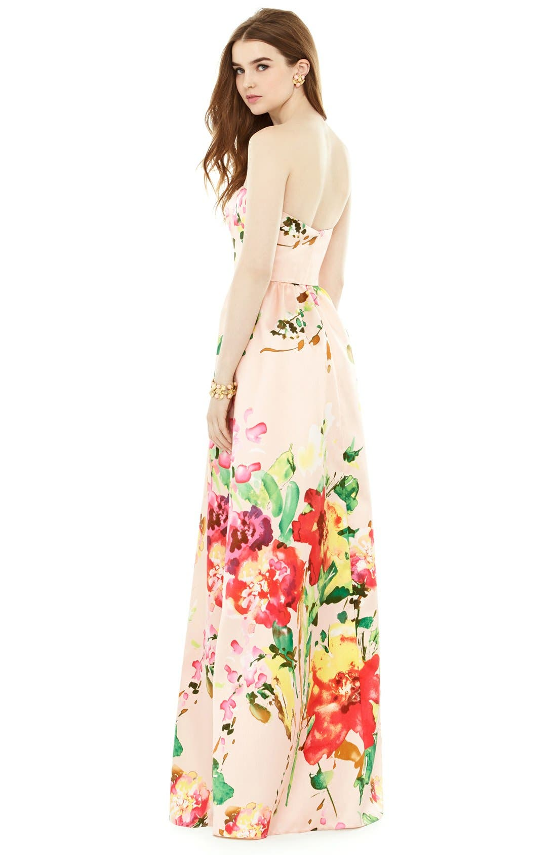 Watercolor Floral Strapless Sateen A-Line Gown,                             Alternate thumbnail 3, color,