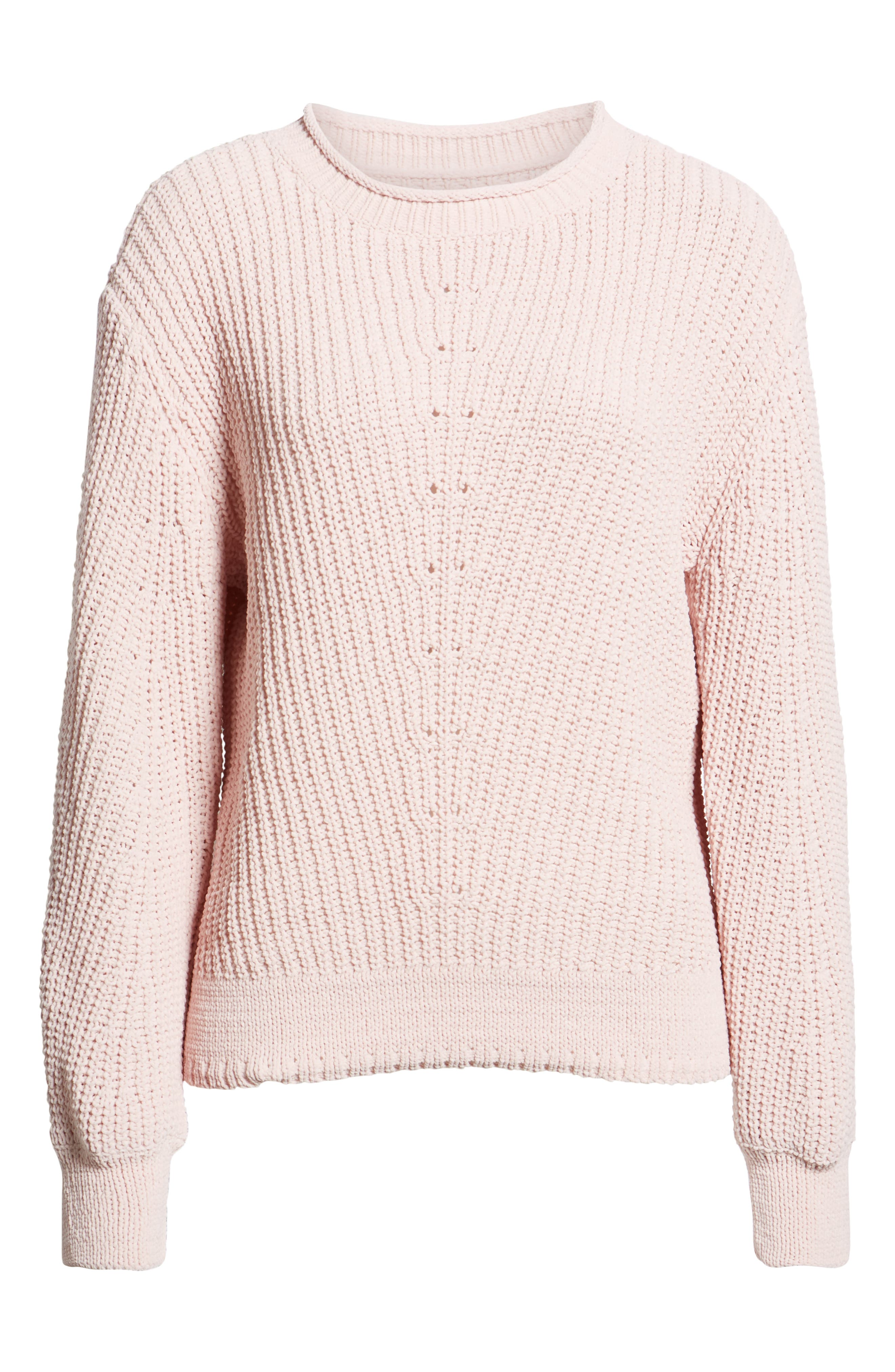 Chenille Crewneck Sweater,                             Alternate thumbnail 6, color,                             PINK SEPIA