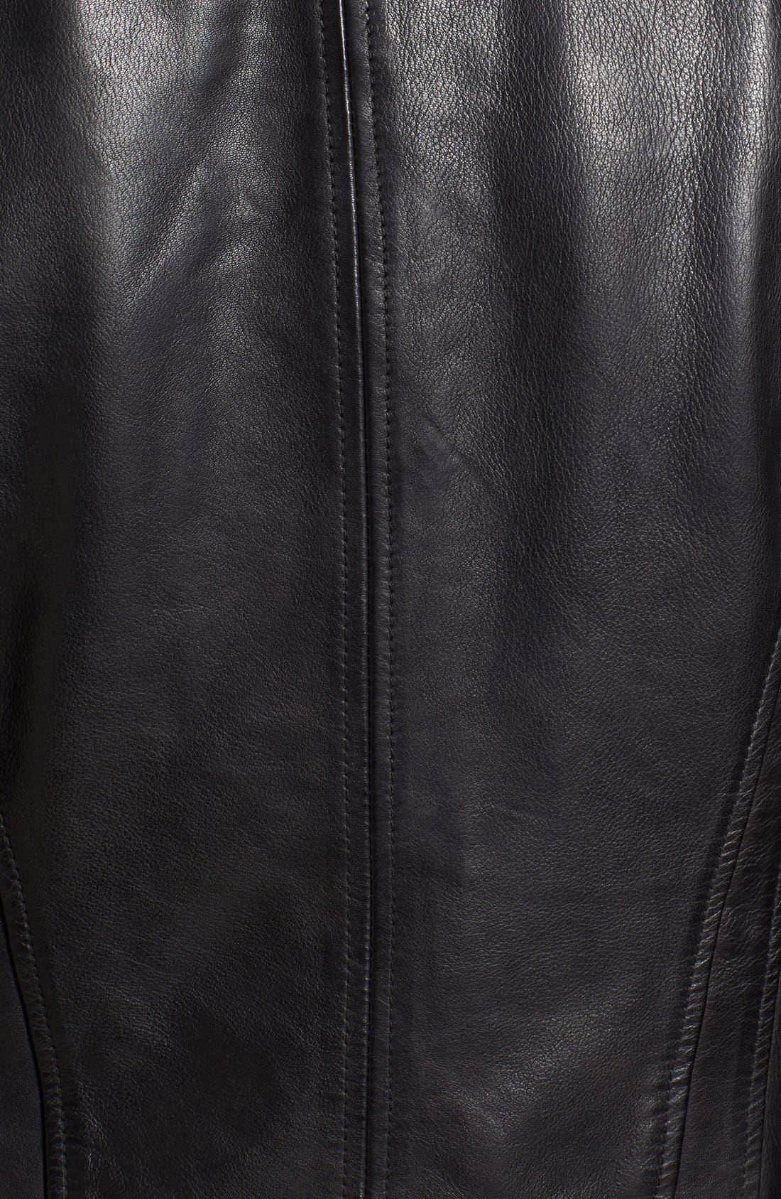 Zip Front Leather Biker Jacket,                             Alternate thumbnail 14, color,