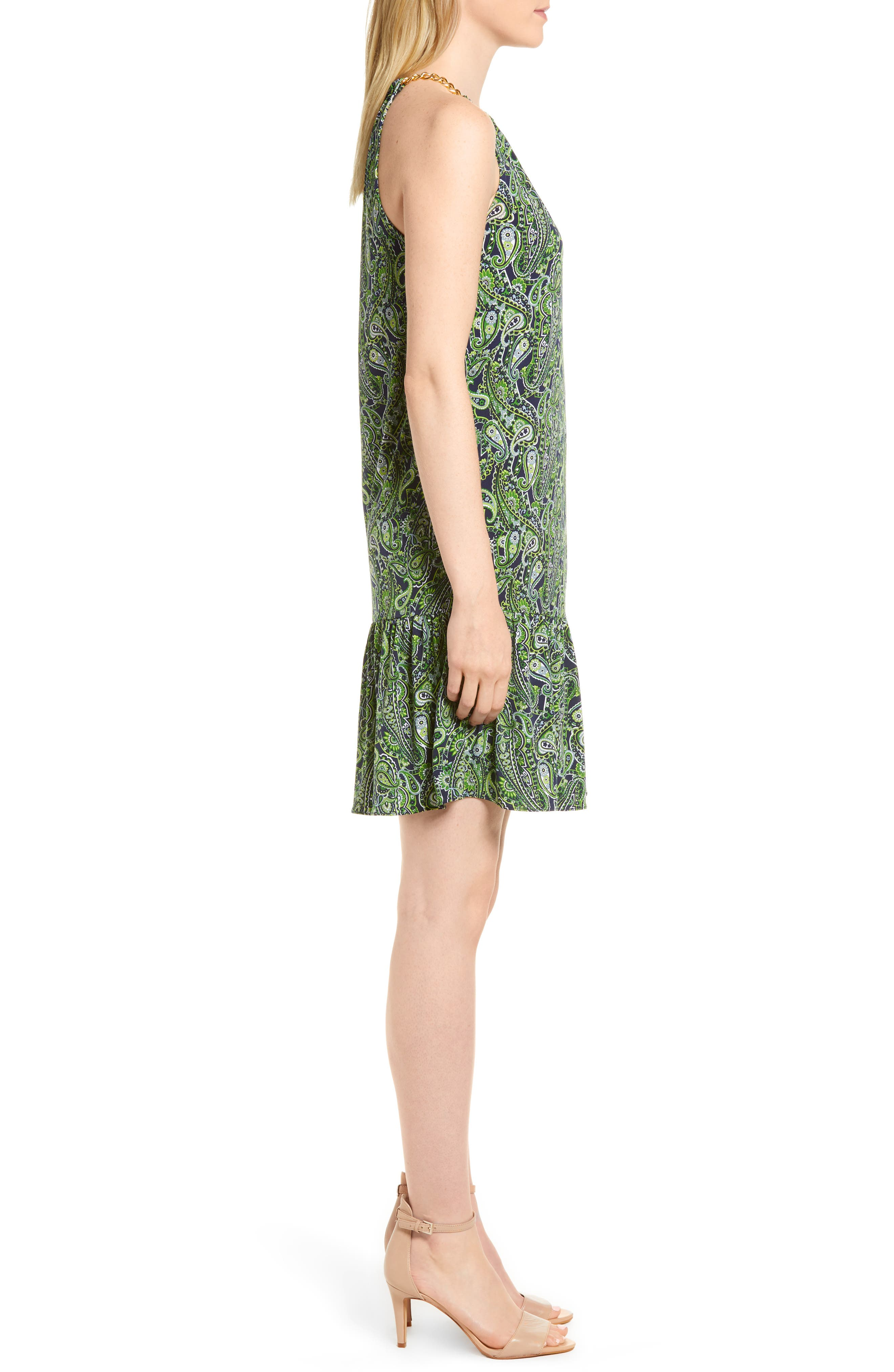 Paisley Paradise Drop Waist Dress,                             Alternate thumbnail 3, color,                             362