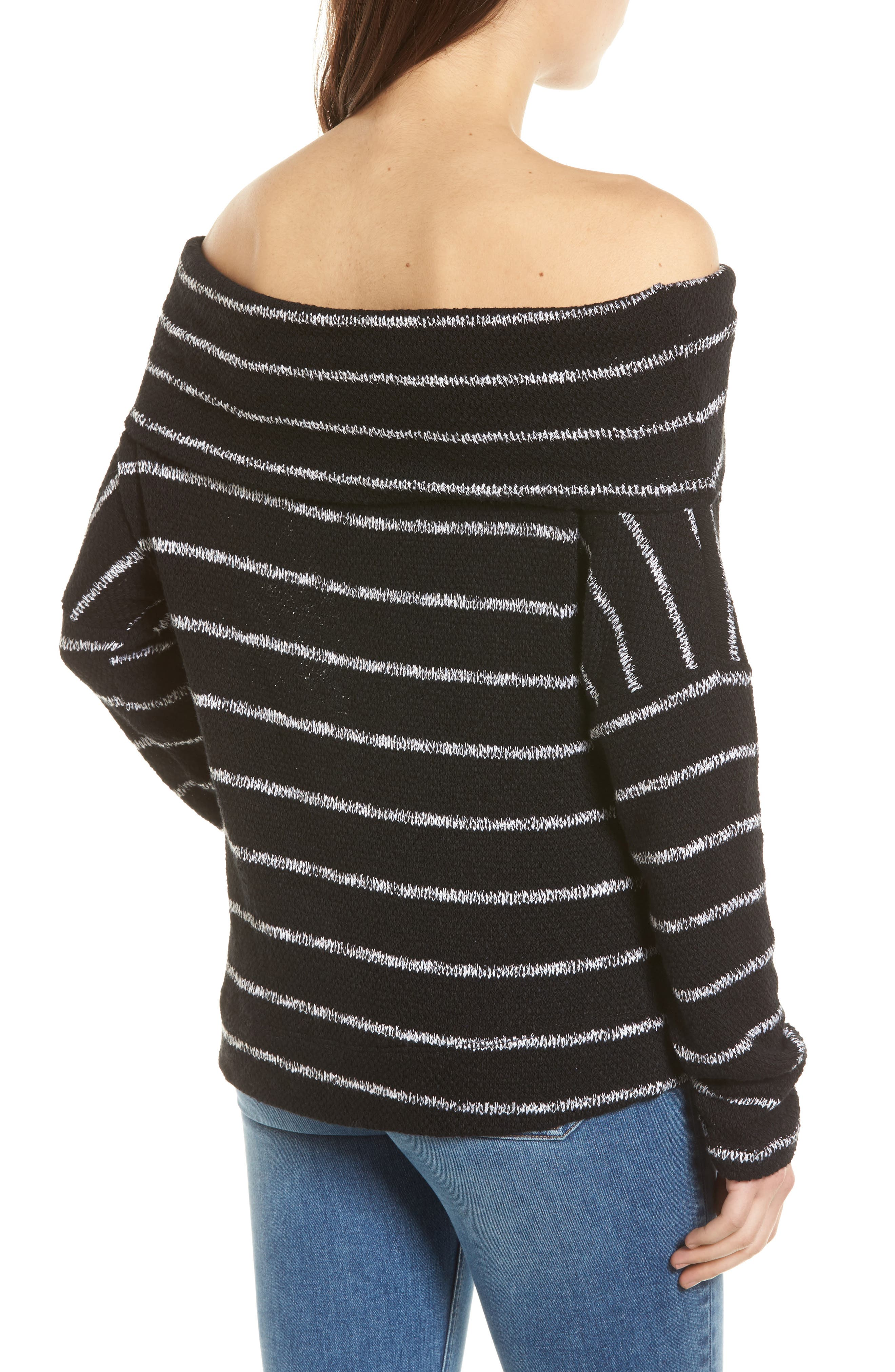 Convertible Neck Knit Pullover,                             Alternate thumbnail 3, color,                             001