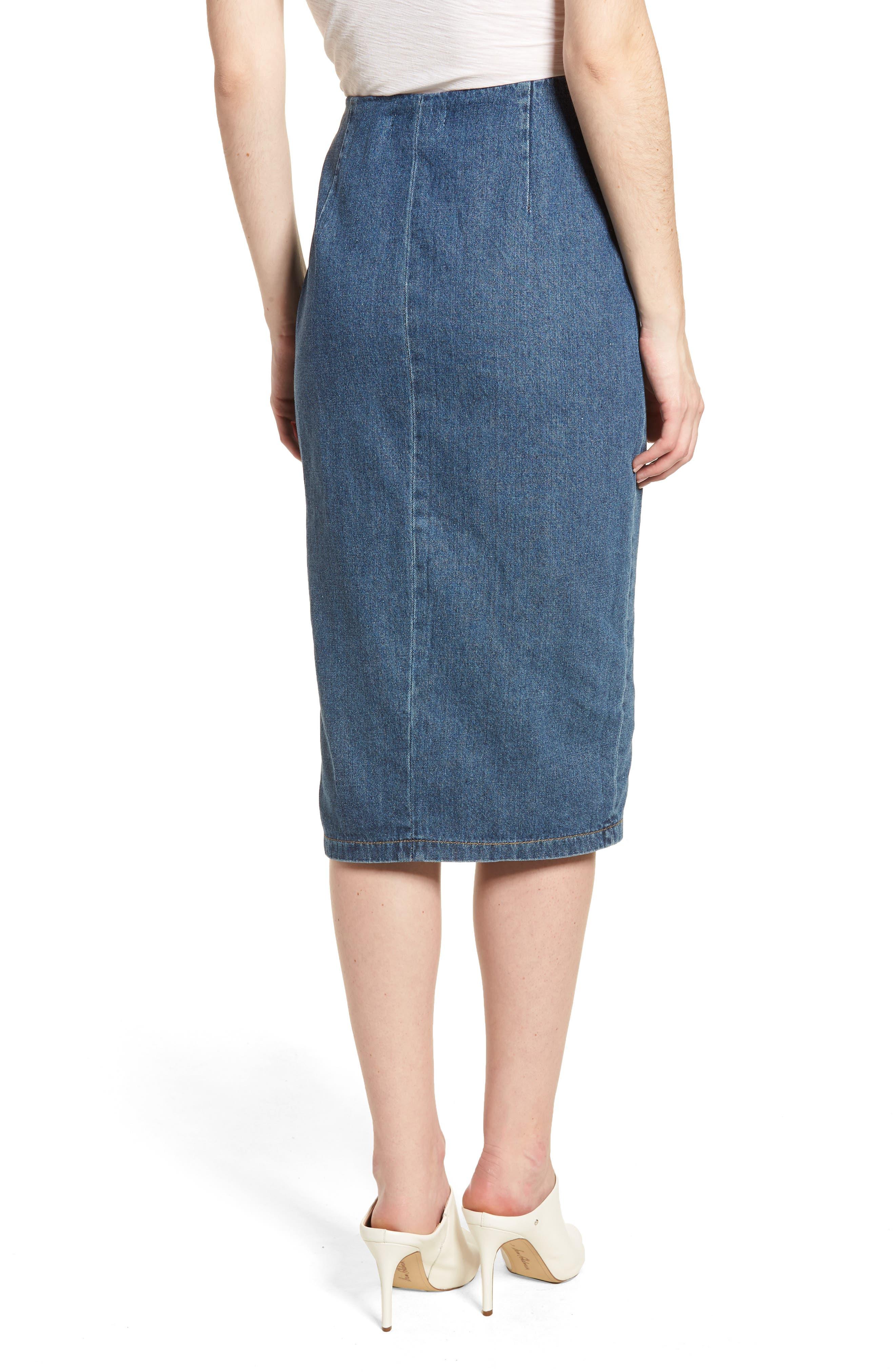 Side Ruffle Denim Pencil Skirt,                             Alternate thumbnail 2, color,                             400