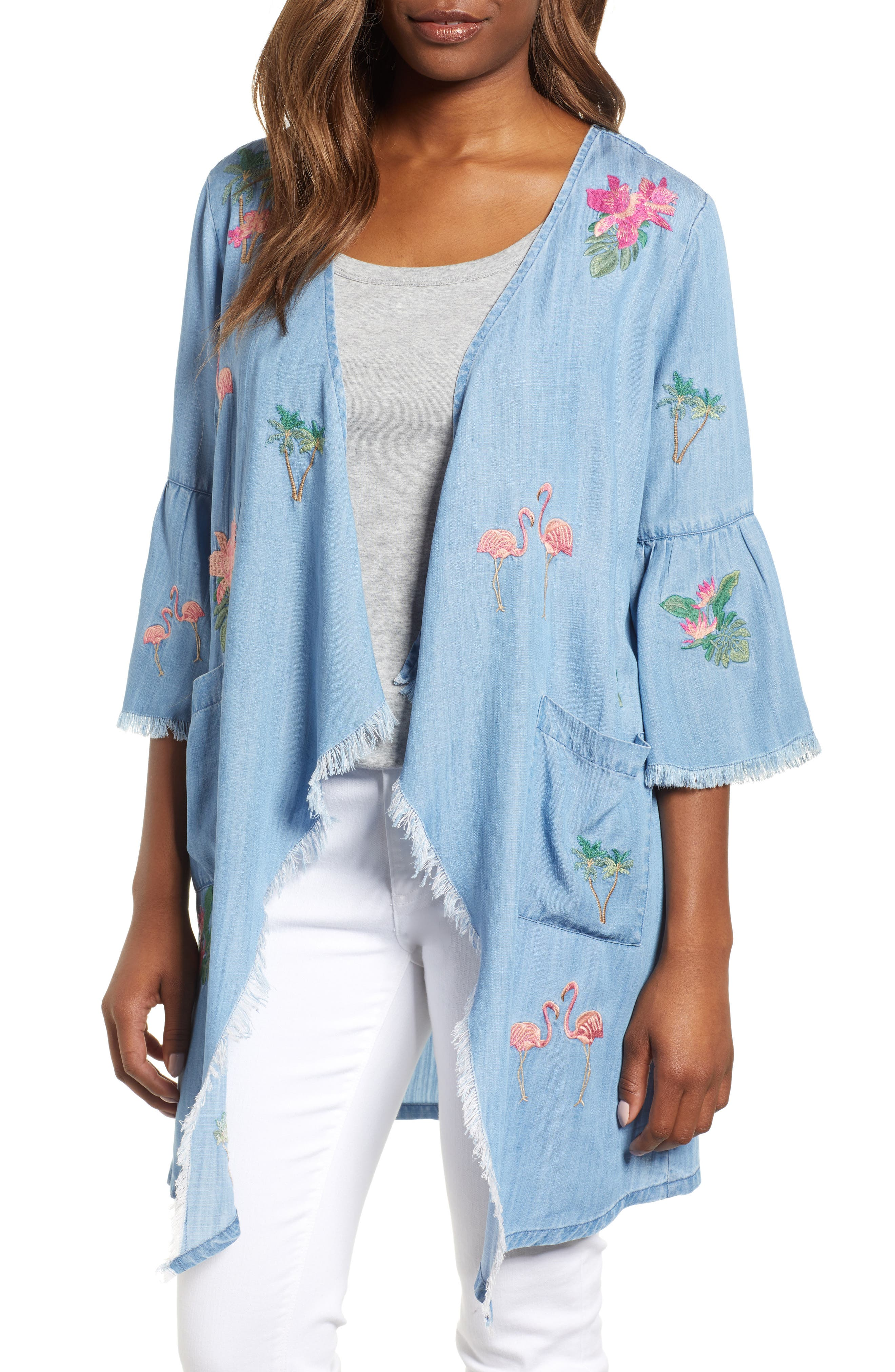 Flamingo Embroidered Chambray Kimono,                             Main thumbnail 1, color,                             421