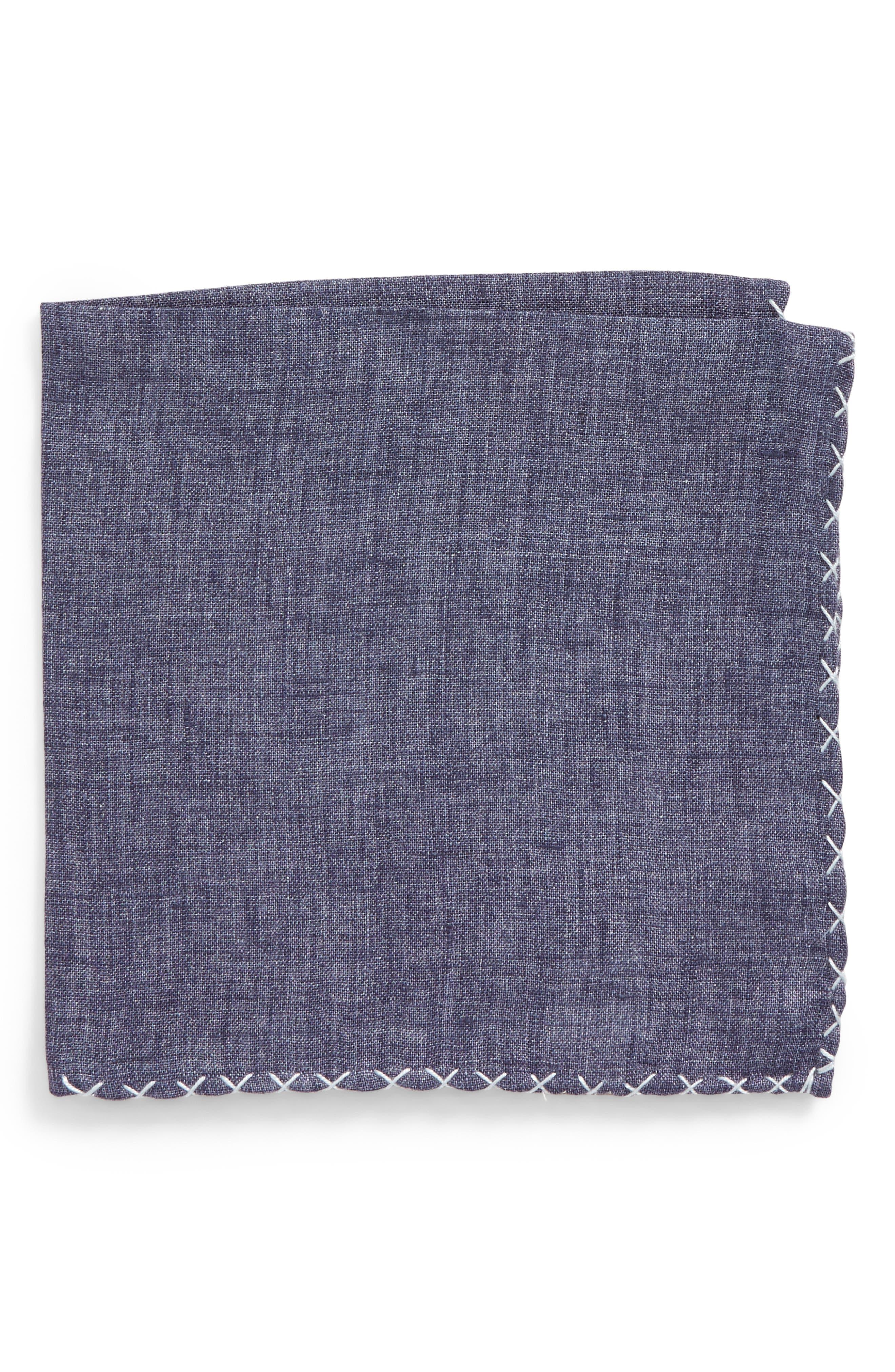 Solid Linen Pocket Square,                         Main,                         color, 020
