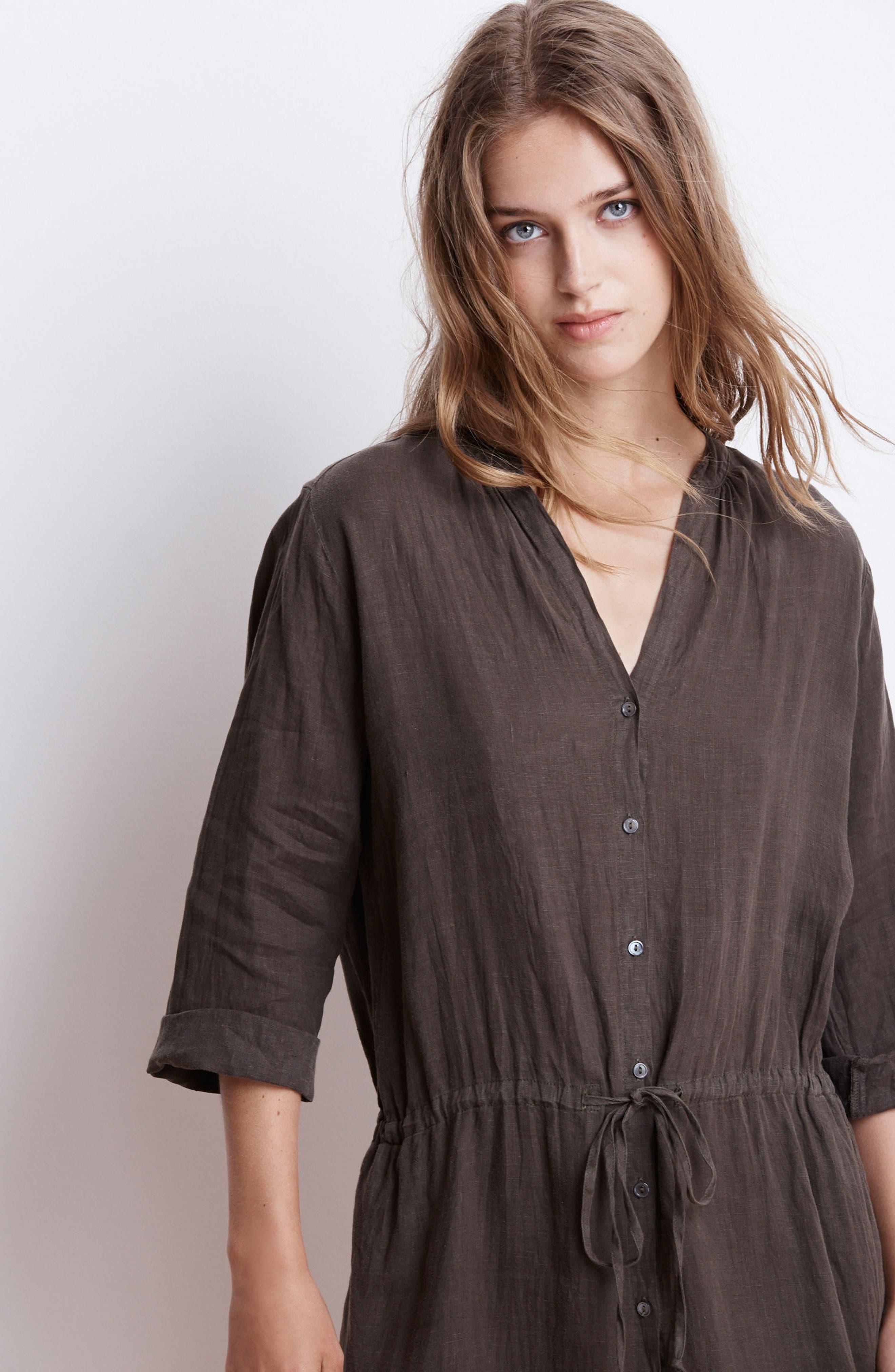 Linen Drawstring Shirtdress,                             Alternate thumbnail 7, color,                             337