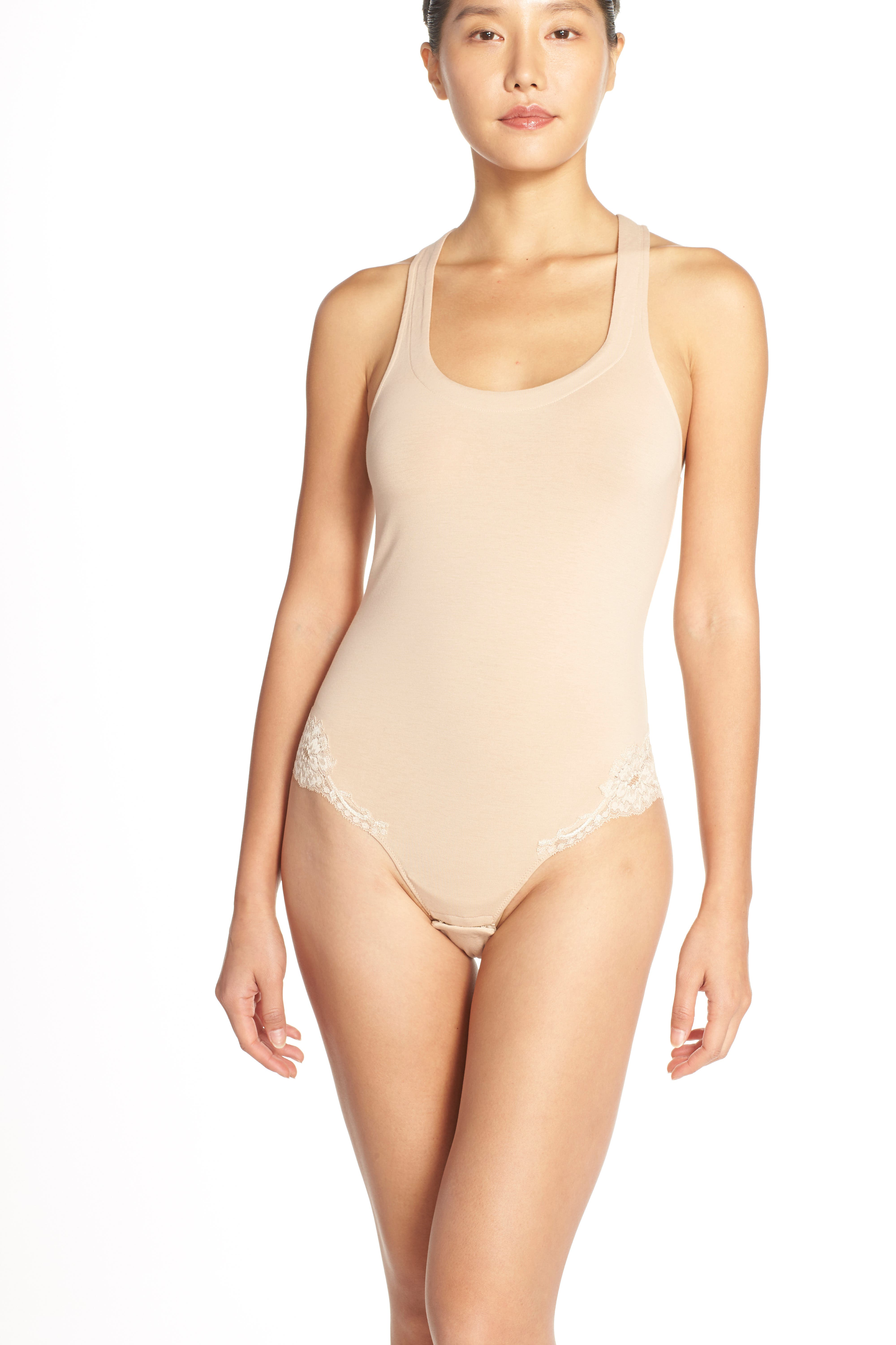 'Spalla Larga' Racerback Bodysuit,                             Alternate thumbnail 6, color,
