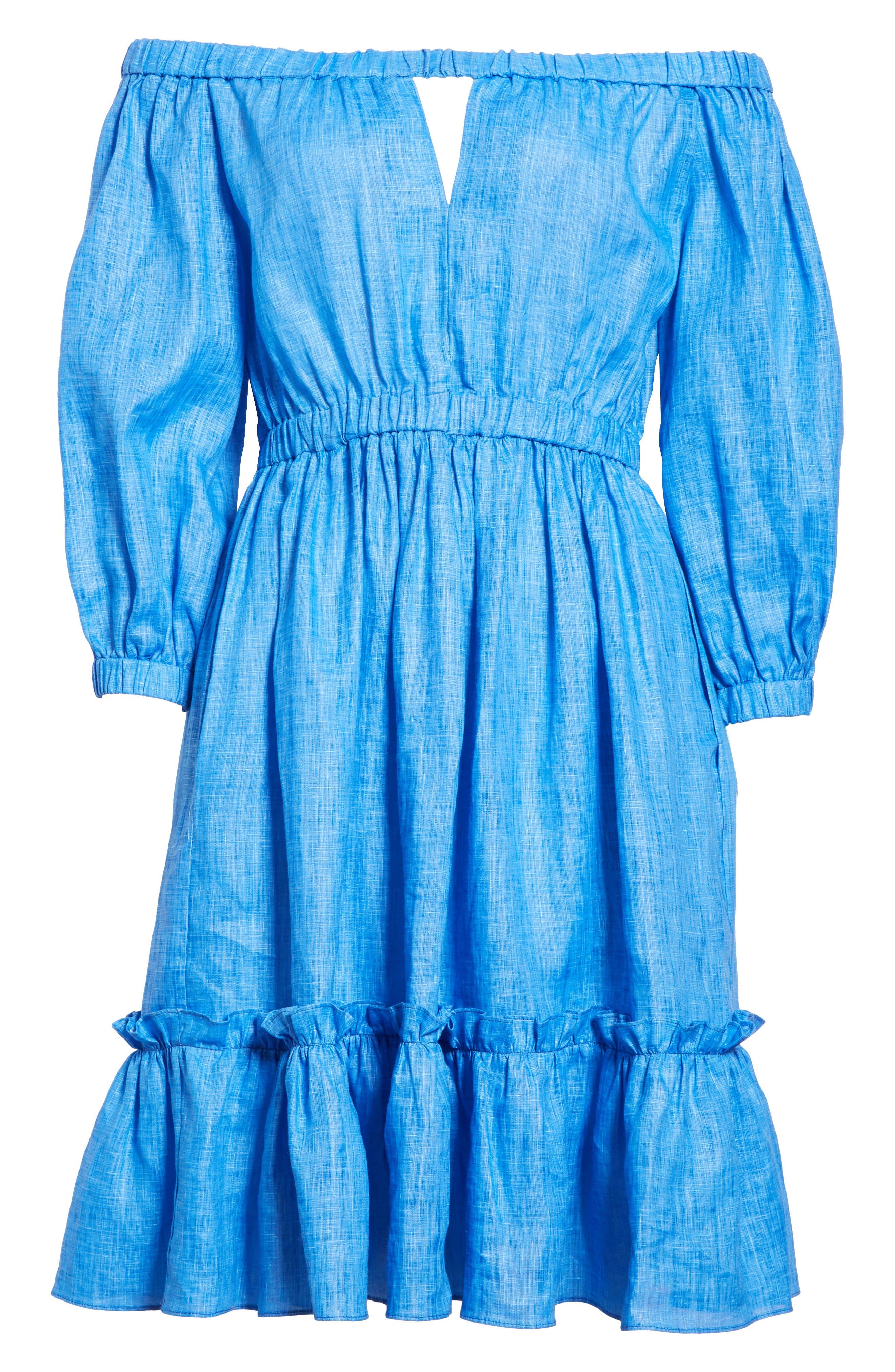 Amanda Off the Shoulder Italian Linen Dress,                             Alternate thumbnail 6, color,                             COBALT