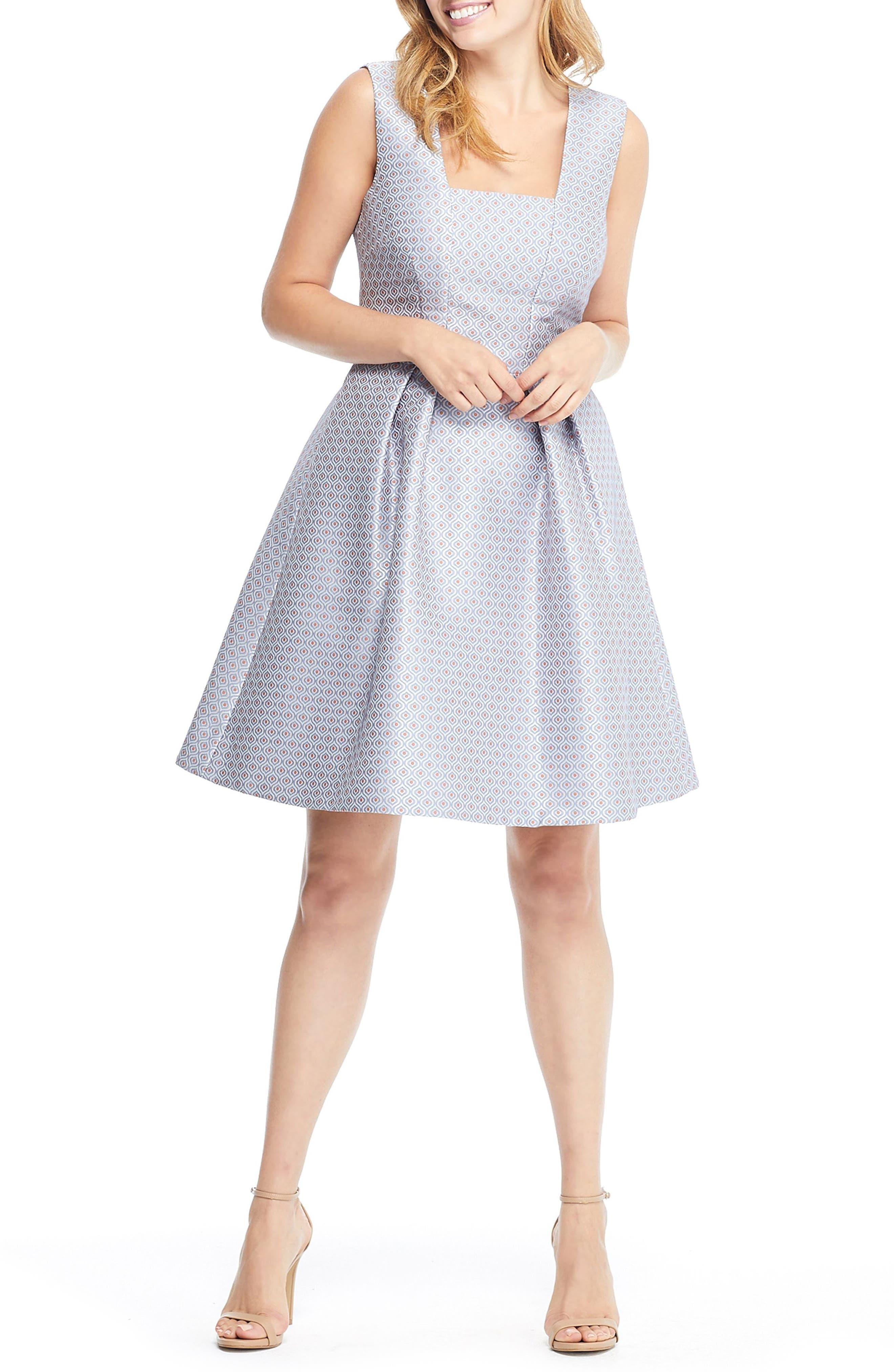 Cosette Jacquard Fit & Flare Dress,                             Main thumbnail 1, color,                             BLUE MULTI