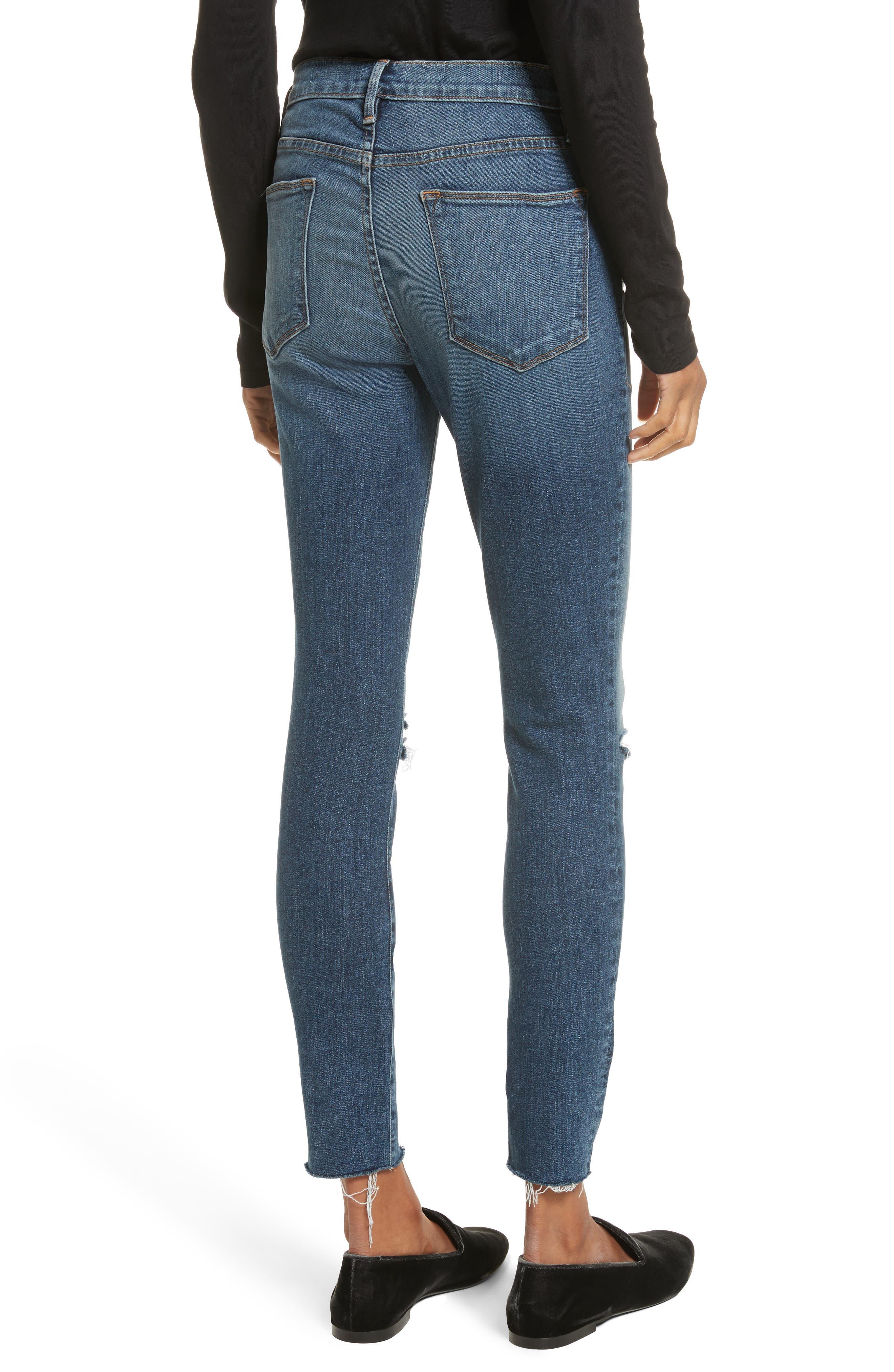 Le High Raw Hem Skinny Jeans,                             Alternate thumbnail 2, color,                             420