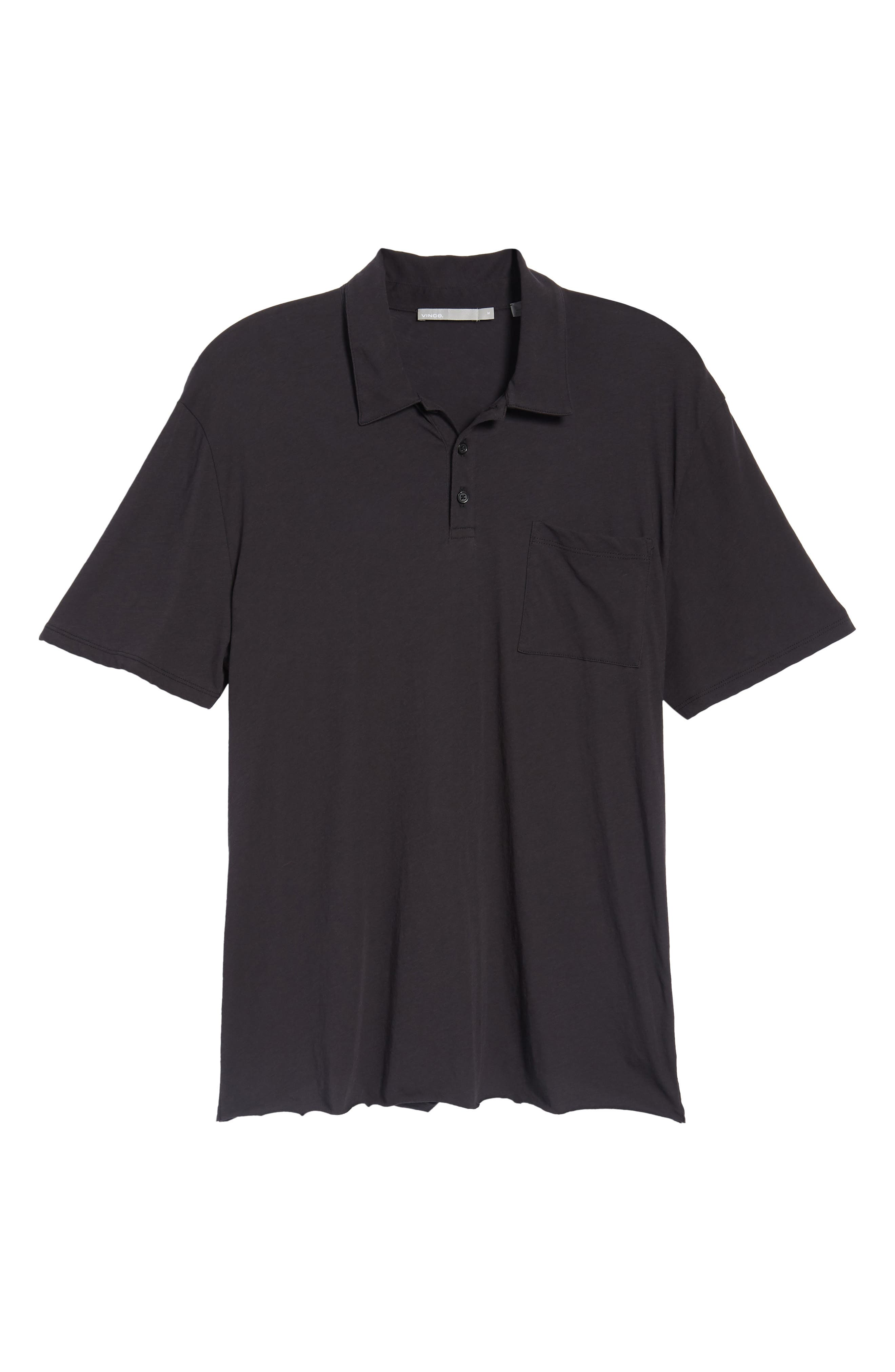 VINCE,                             Cotton Polo Shirt,                             Alternate thumbnail 6, color,                             001