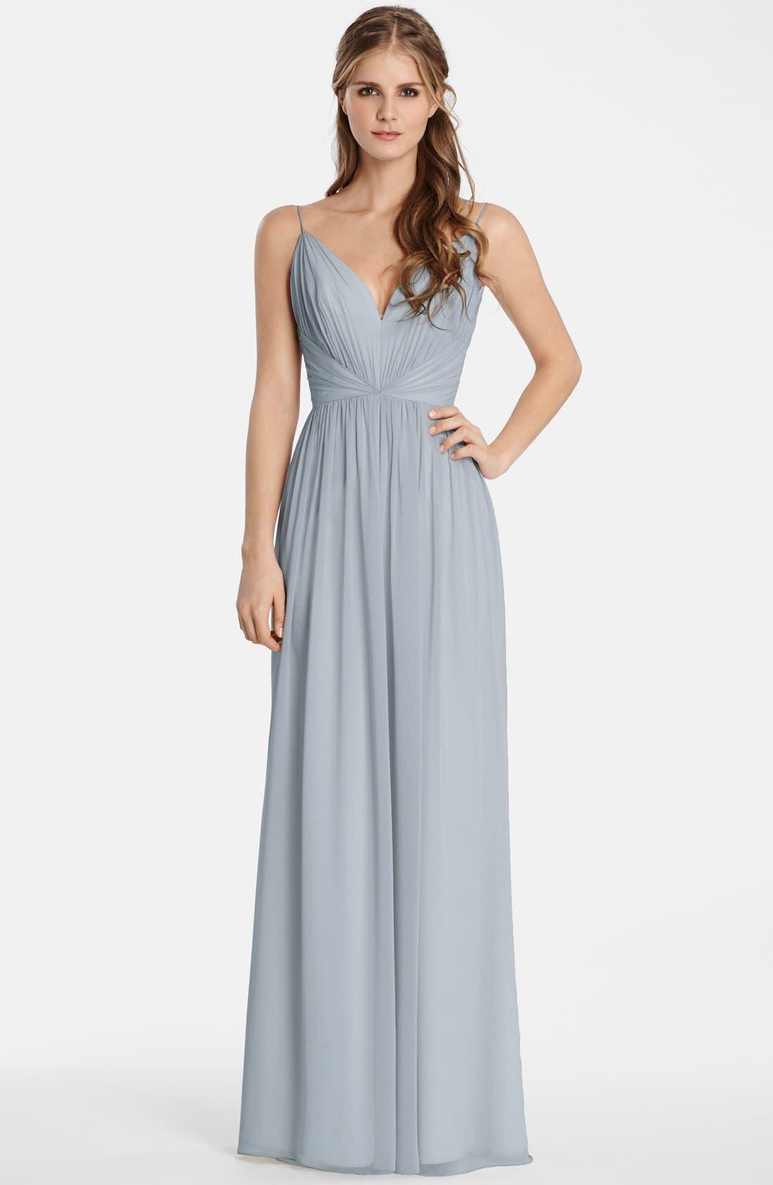Draped V-Neck Chiffon Gown,                             Main thumbnail 1, color,                             040