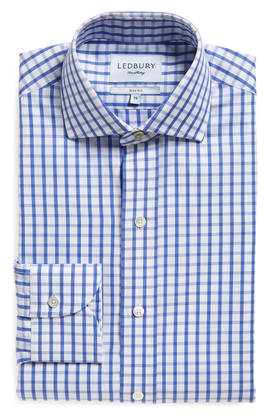 'Urbana Box' Slim Fit Check Dress Shirt,                         Main,                         color, BLUE