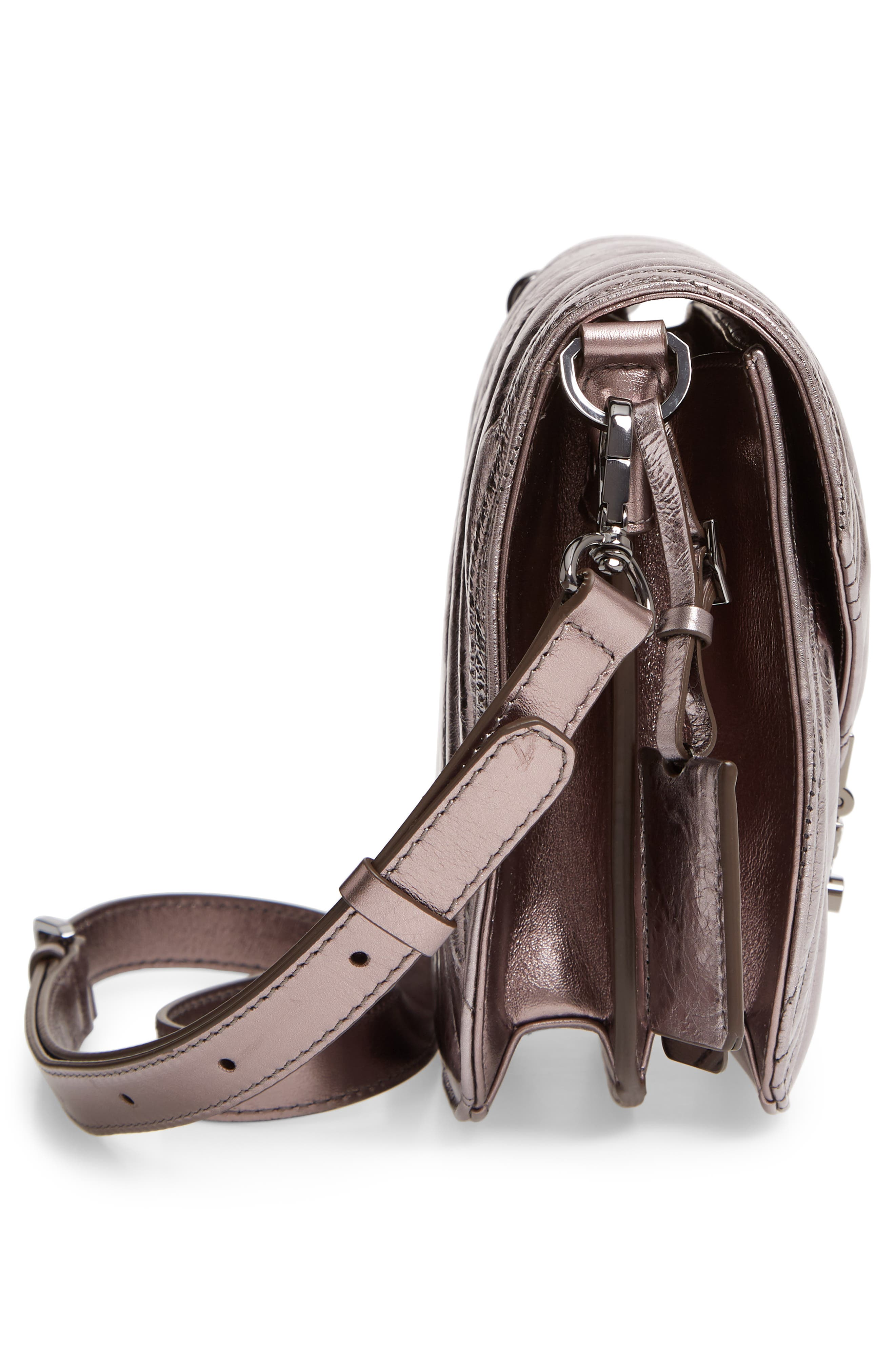 Patricia Quilted Metallic Leather Saddle Bag,                             Alternate thumbnail 5, color,                             BERLIN SILVER