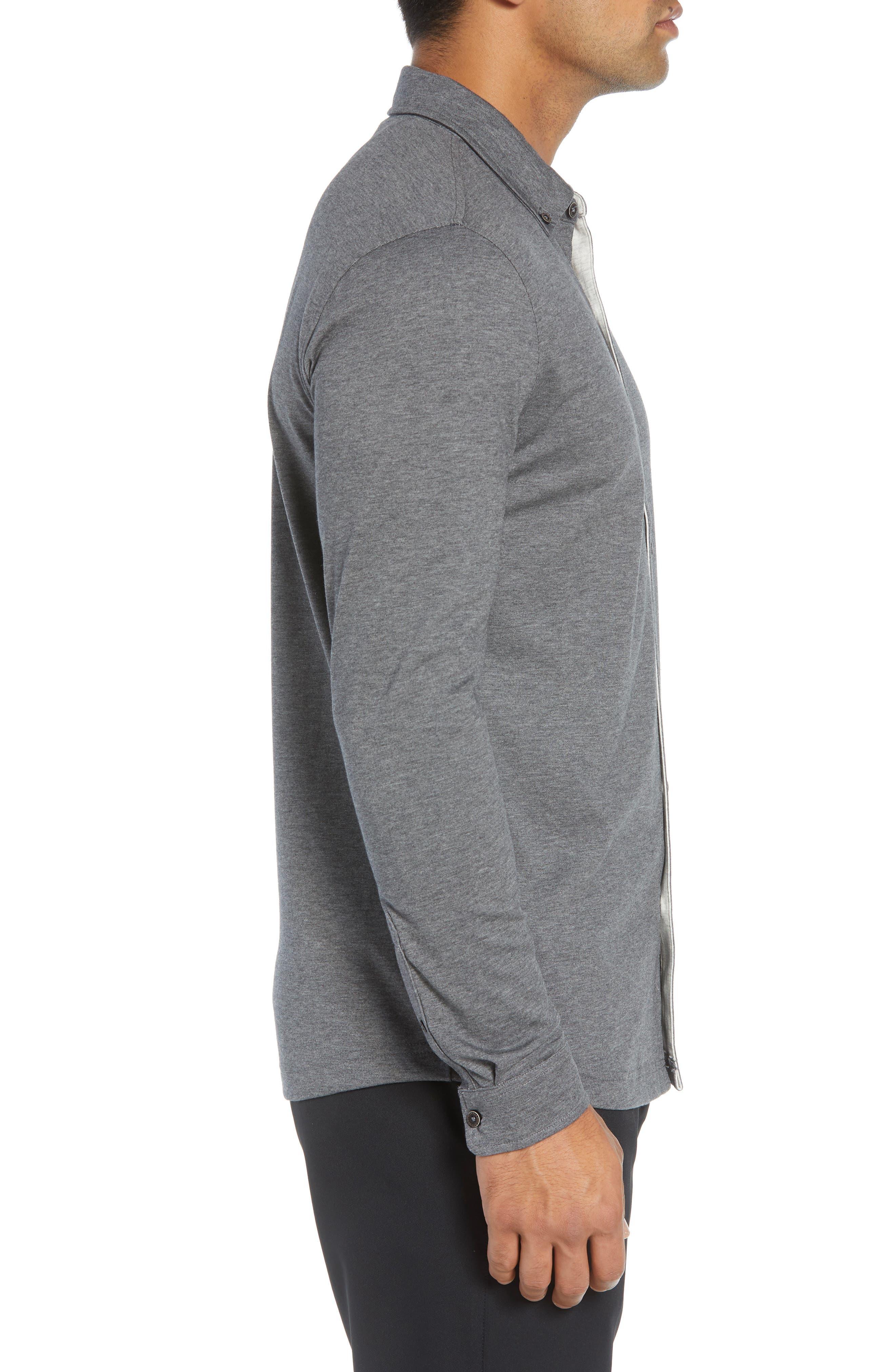 Rule 18 Brushed Regular Fit Knit Sport Shirt,                             Alternate thumbnail 3, color,                             020