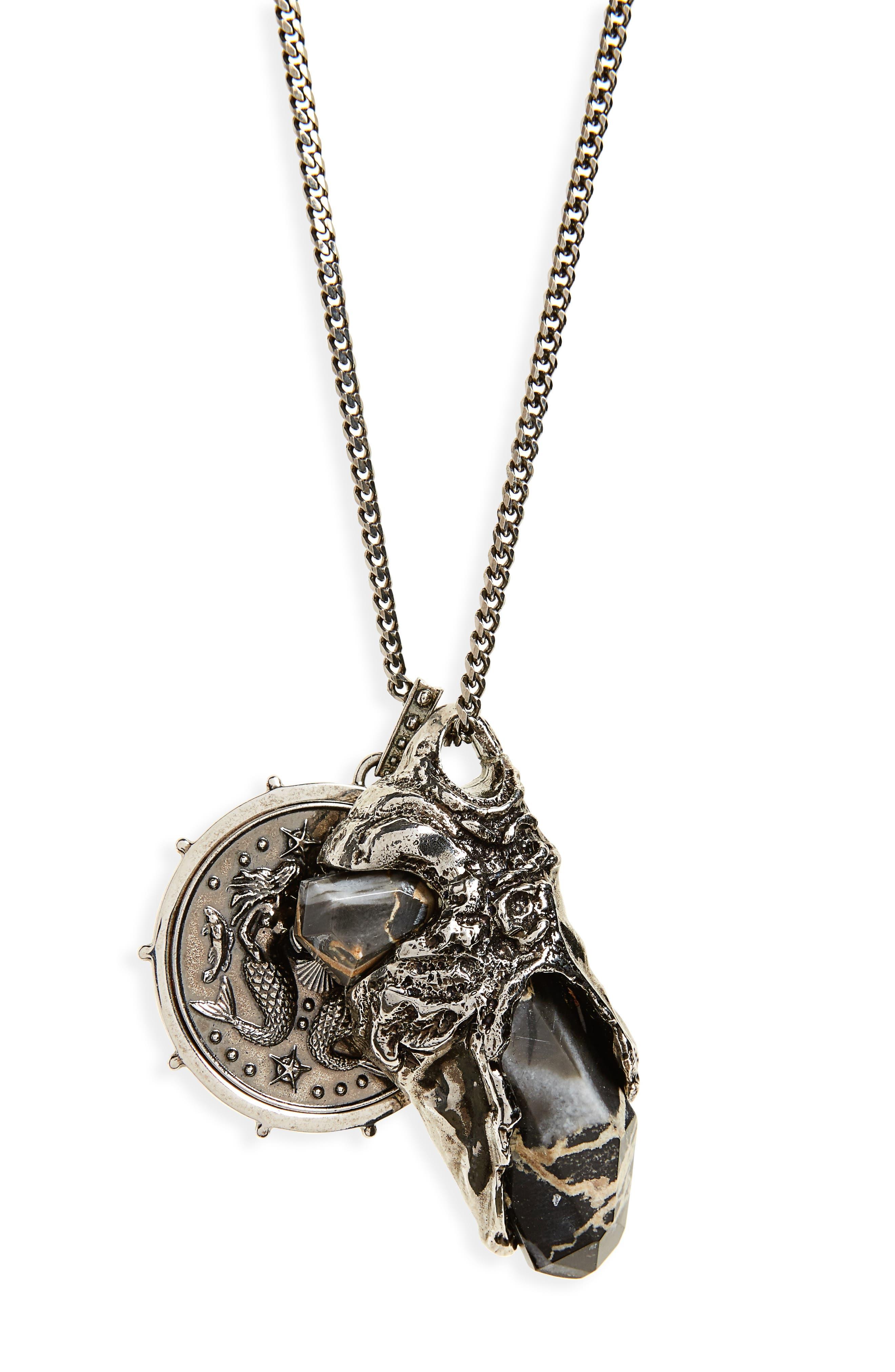 Medallion Pendant Necklace,                             Alternate thumbnail 2, color,                             ANTIQUE SILVER/ BLACK PORTORO