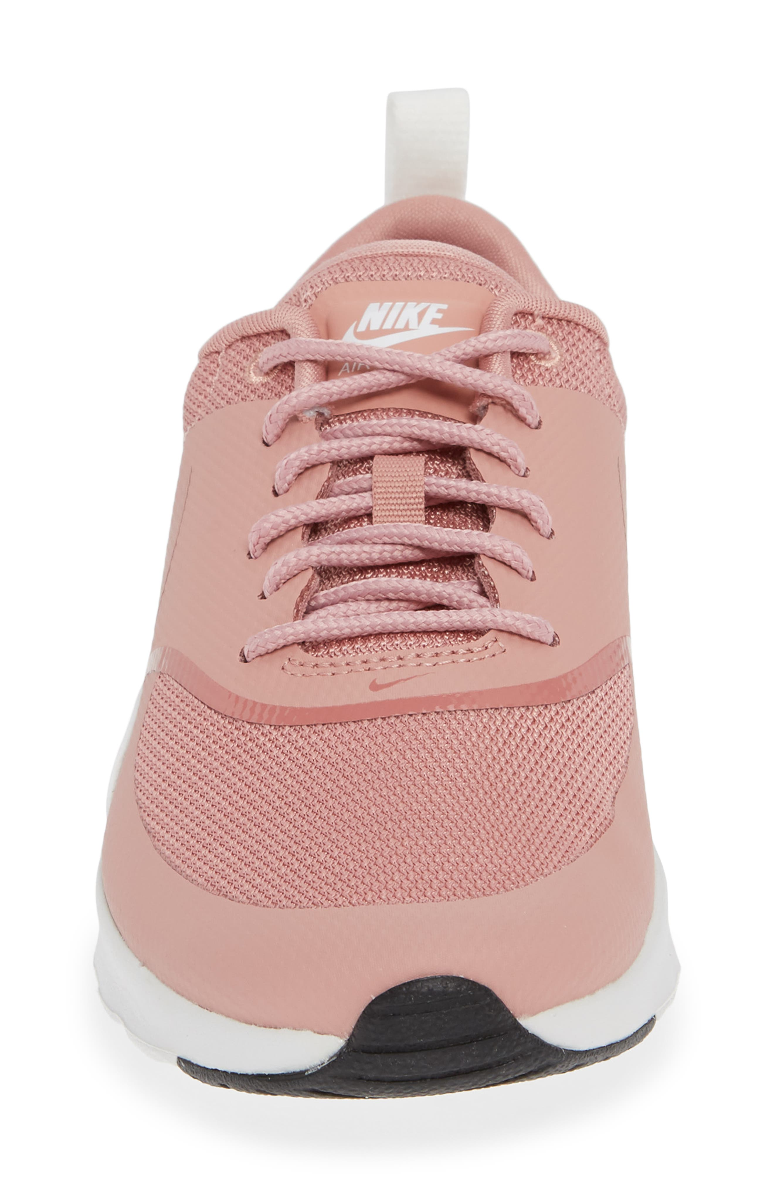 Air Max Thea Sneaker,                             Alternate thumbnail 4, color,                             RUST PINK/ WHITE/ BLACK