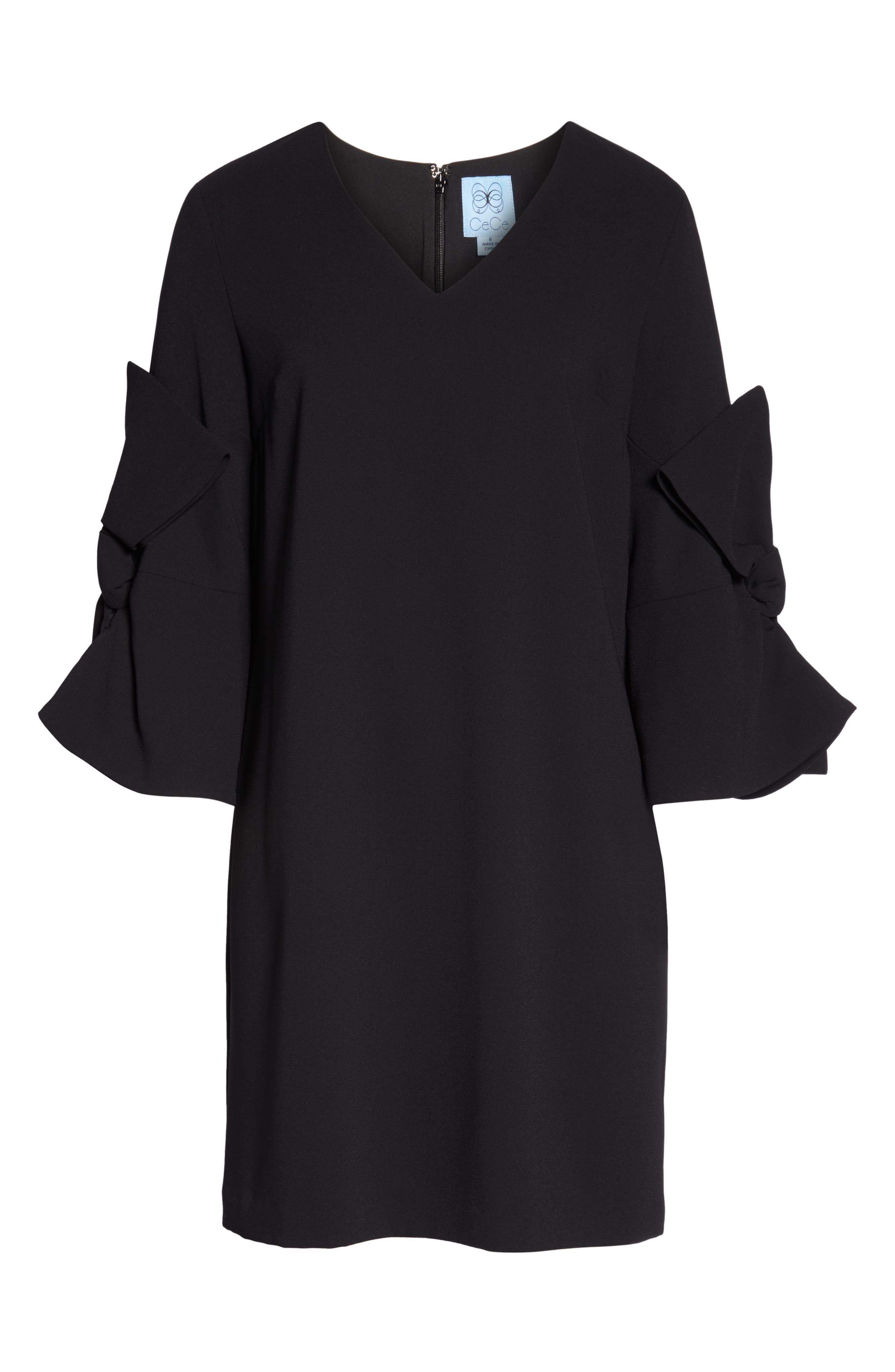 Moss Crepe Bow Shift Dress,                             Alternate thumbnail 3, color,                             RICH BLACK