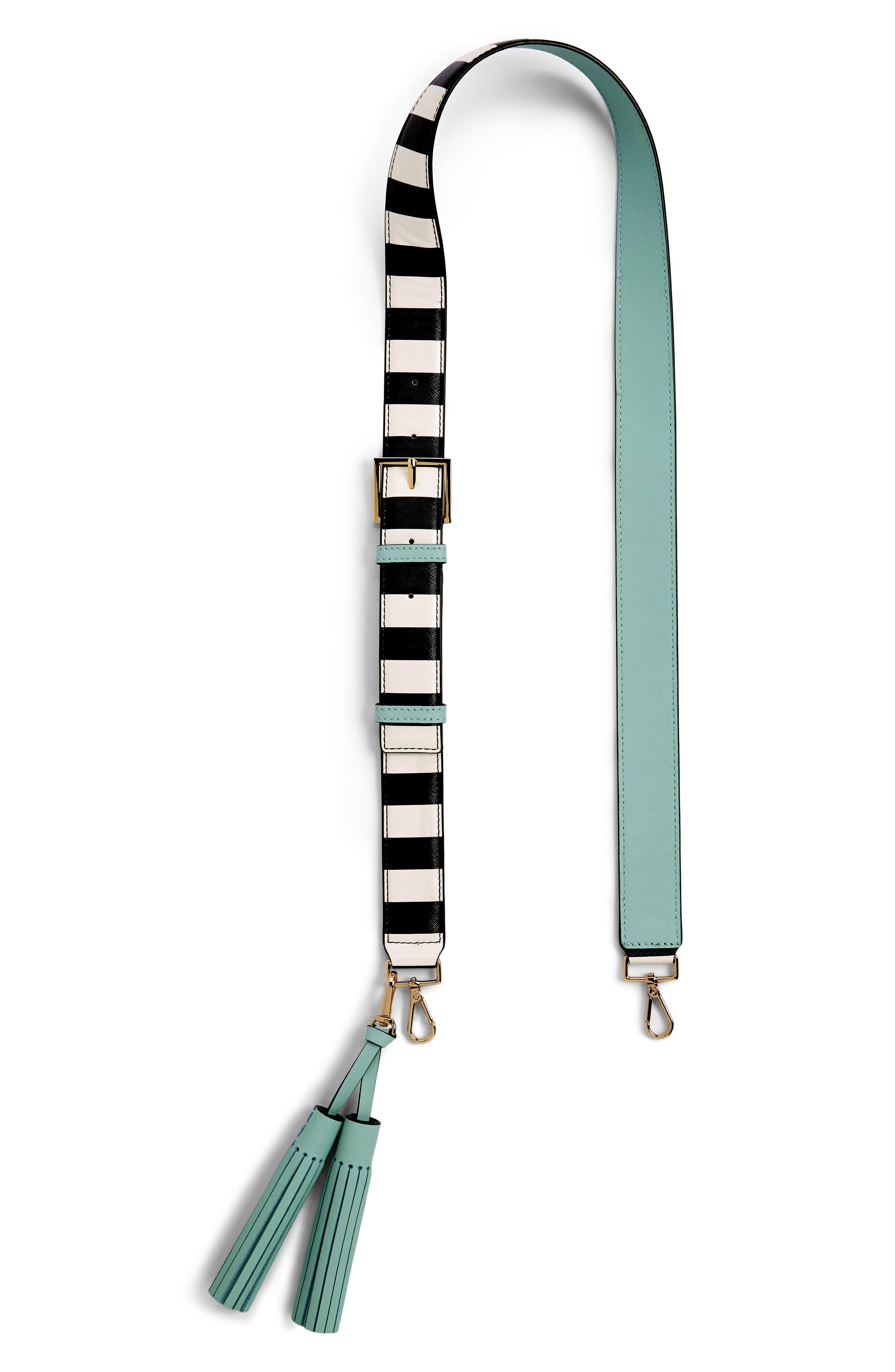 make it mine stripe tassel leather guitar style bag strap,                             Main thumbnail 1, color,                             100
