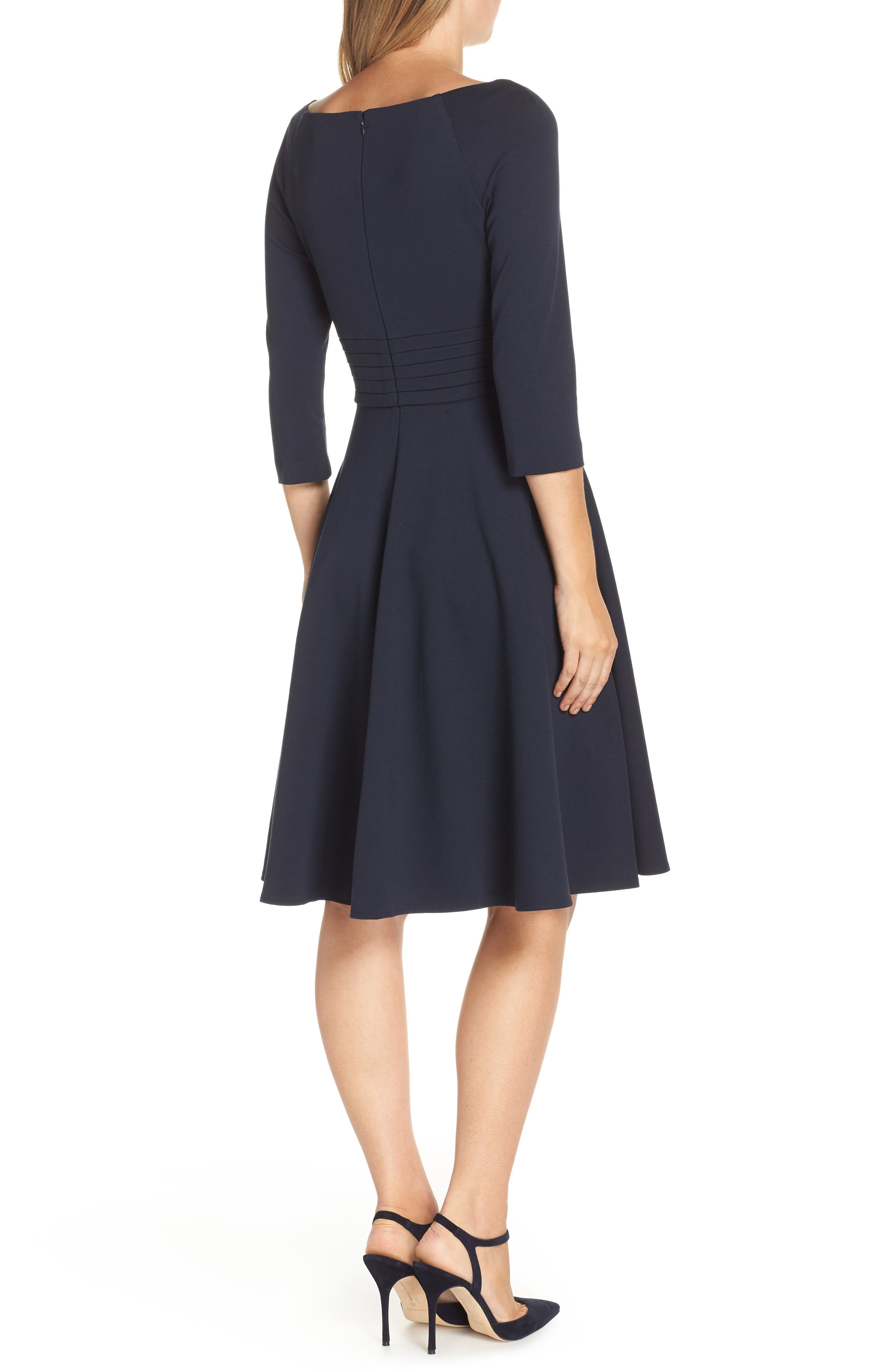 Pleated Waist Fit & Flare Dress,                             Alternate thumbnail 2, color,                             NAVY