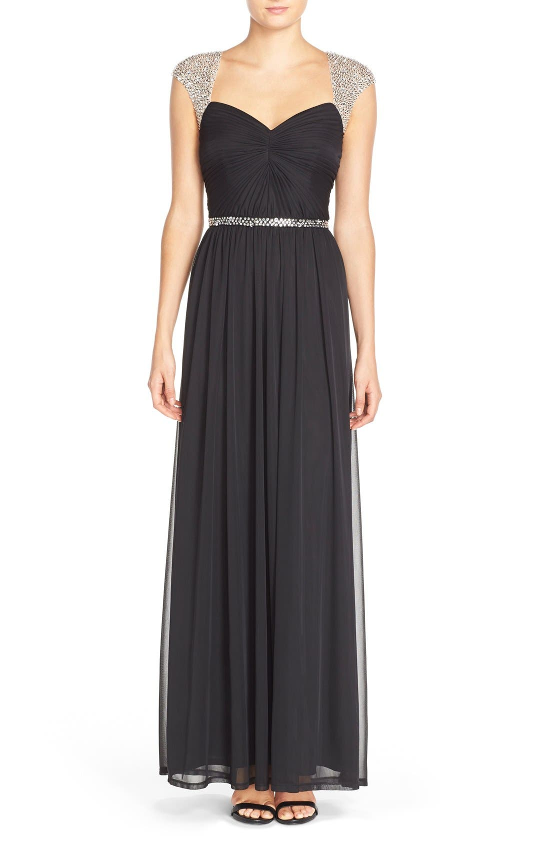 Embellished Ruched Jersey Gown,                             Main thumbnail 1, color,                             001