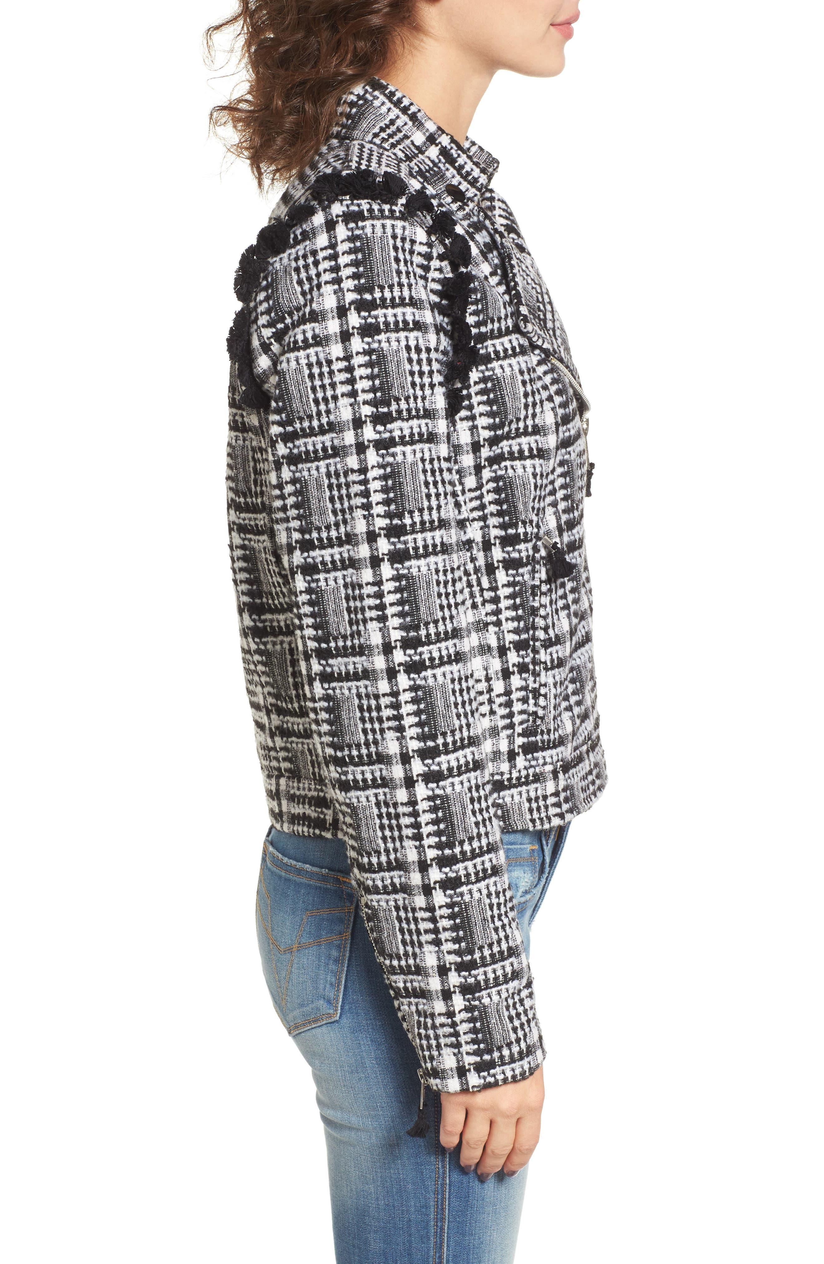 Tweed Moto Jacket,                             Alternate thumbnail 3, color,                             002