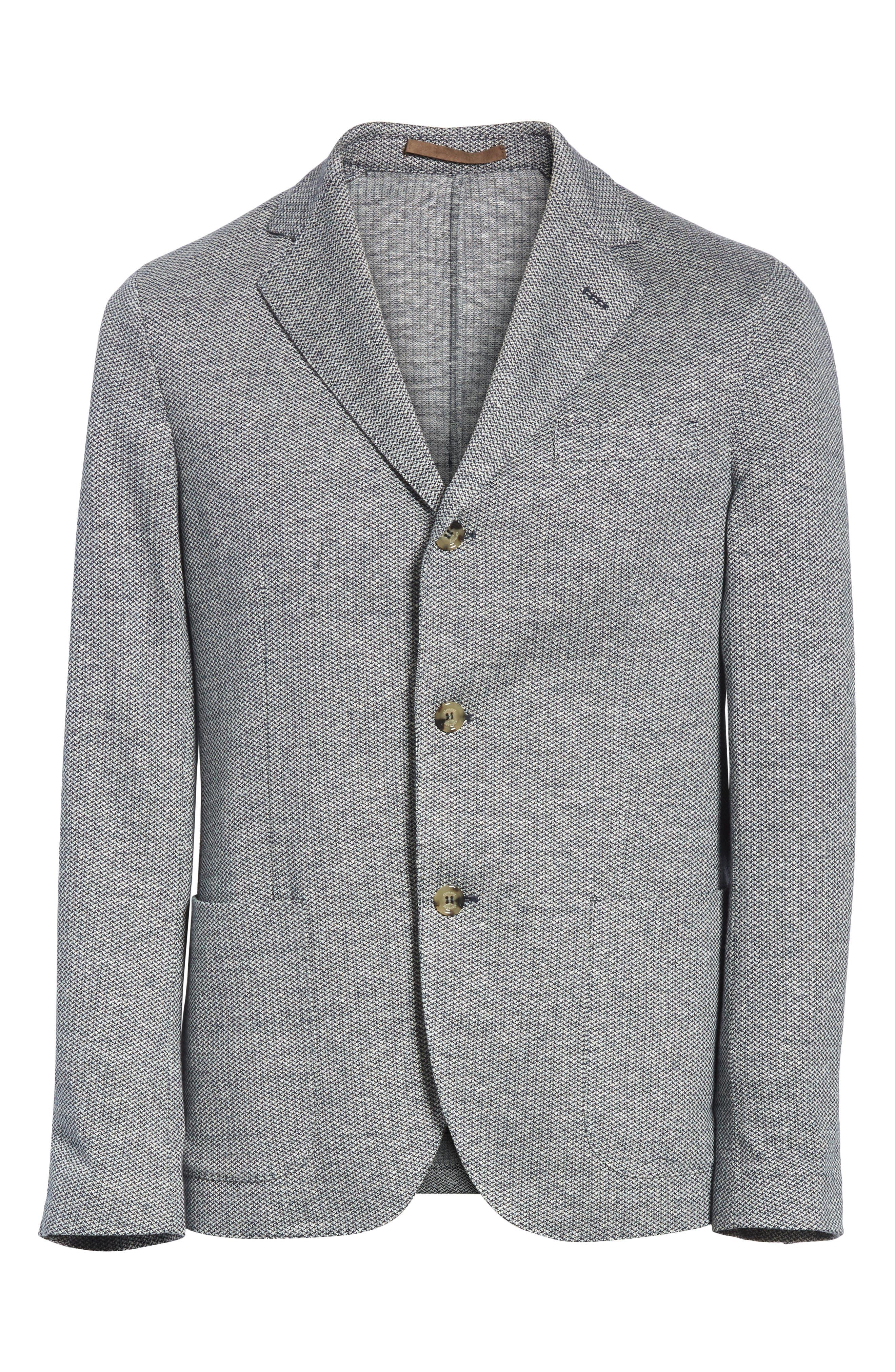 Trim Fit Linen & Cotton Blazer,                             Alternate thumbnail 5, color,                             400
