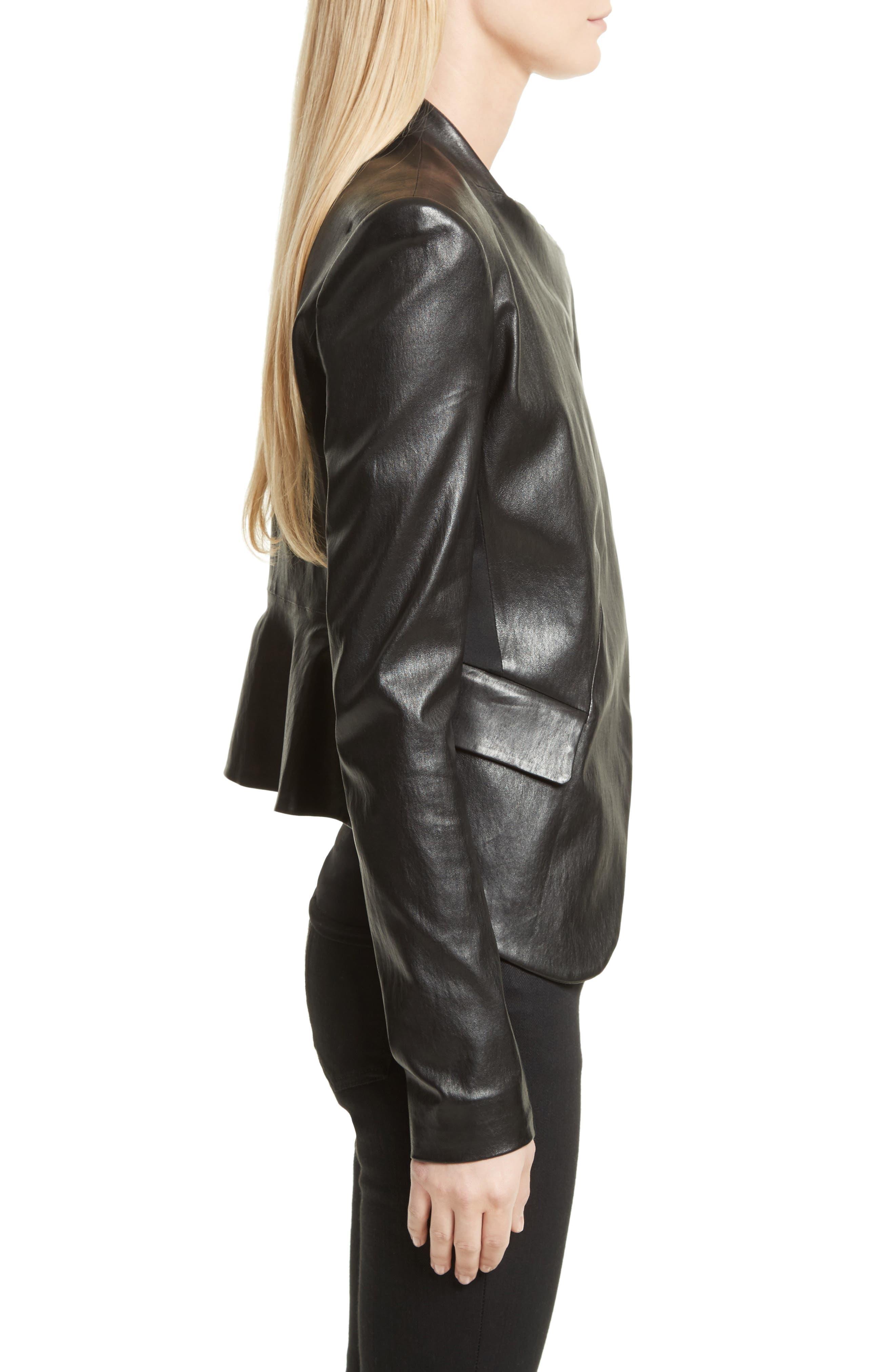 Bristol Peplum Leather Jacket,                             Alternate thumbnail 3, color,                             001