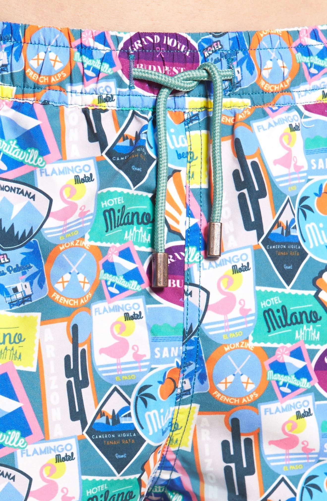City Sticker Slim Fit Swim Trunks,                             Alternate thumbnail 4, color,                             400