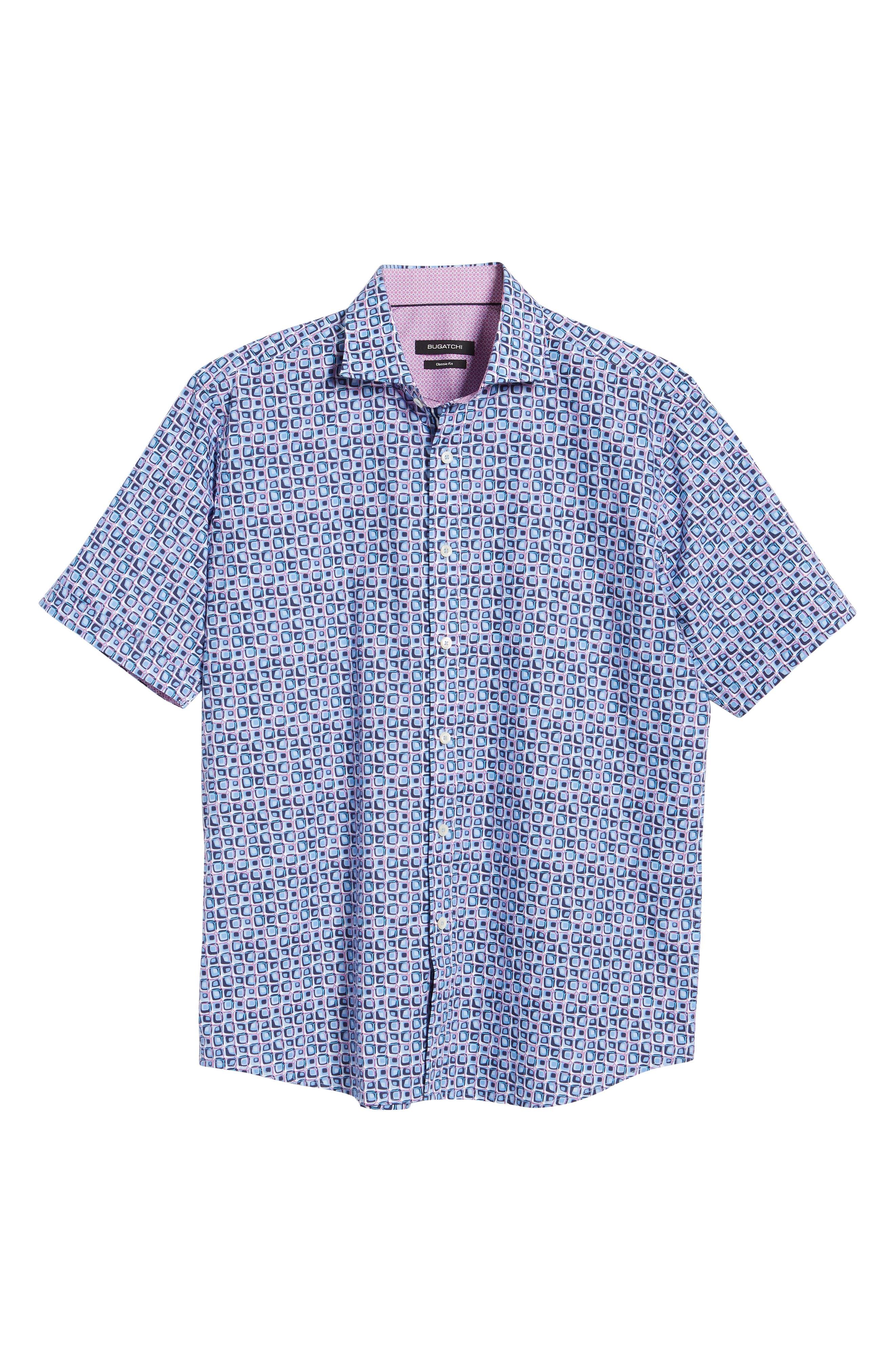 Classic Fit Print Sport Shirt,                             Alternate thumbnail 5, color,                             AIR BLUE