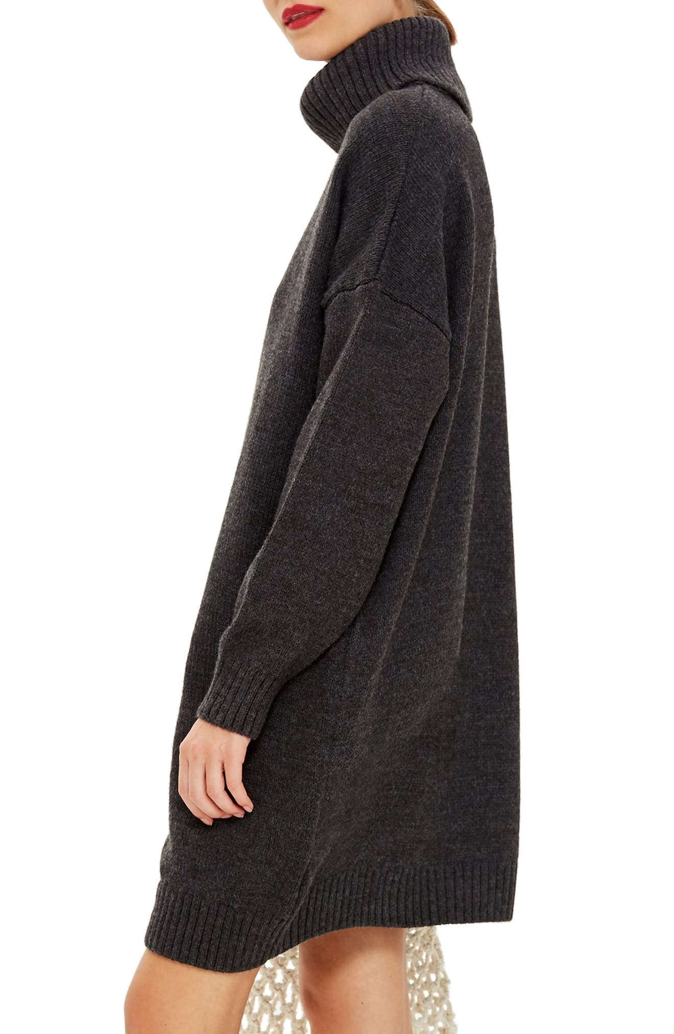 Turtleneck Sweater Dress,                             Alternate thumbnail 3, color,                             CHARCOAL
