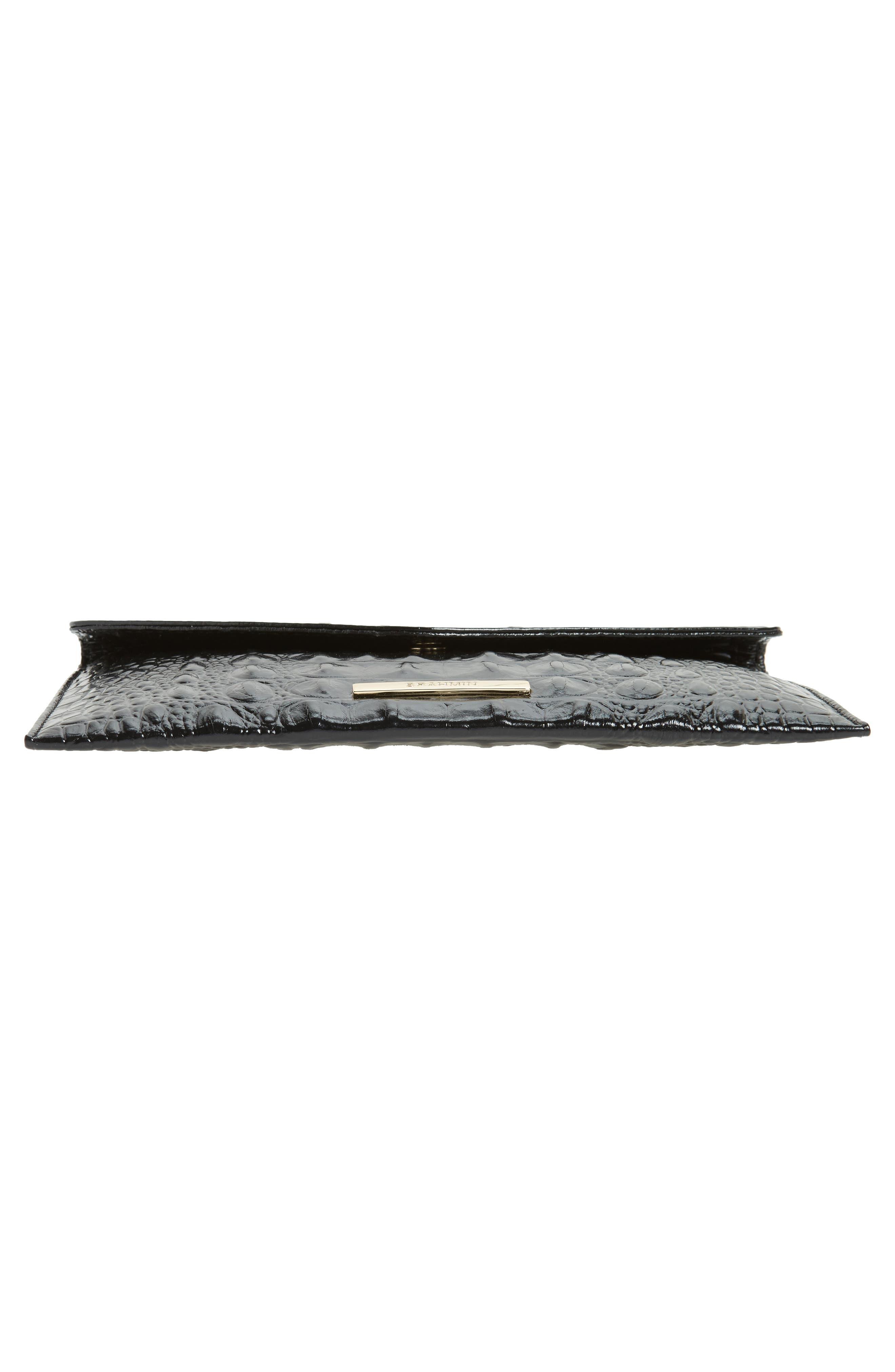 Melbourne Croc Embossed Leather Envelope Clutch,                             Alternate thumbnail 6, color,                             BLACK