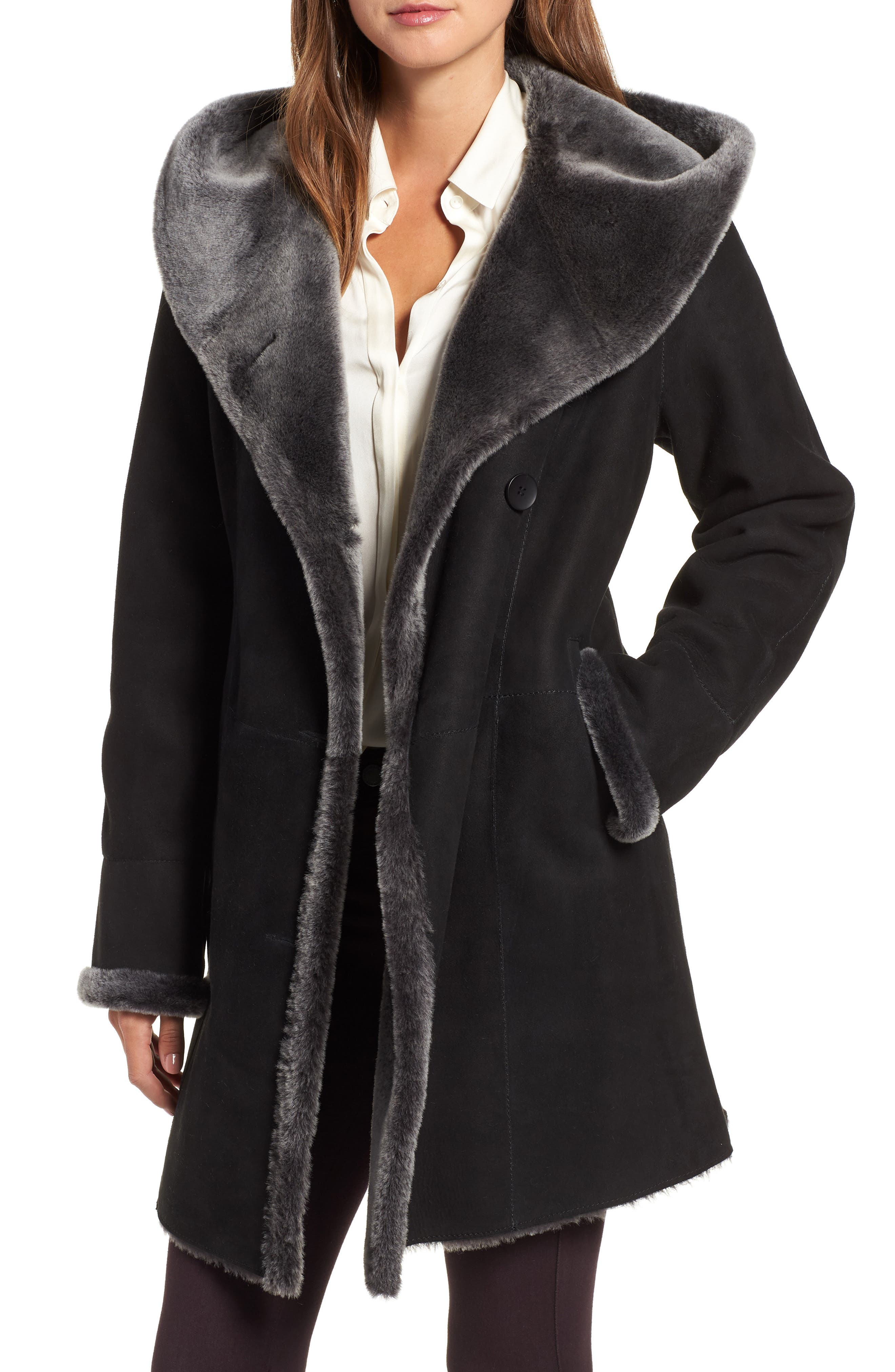 Hiso Hooded Merino Shearling Coat, Black