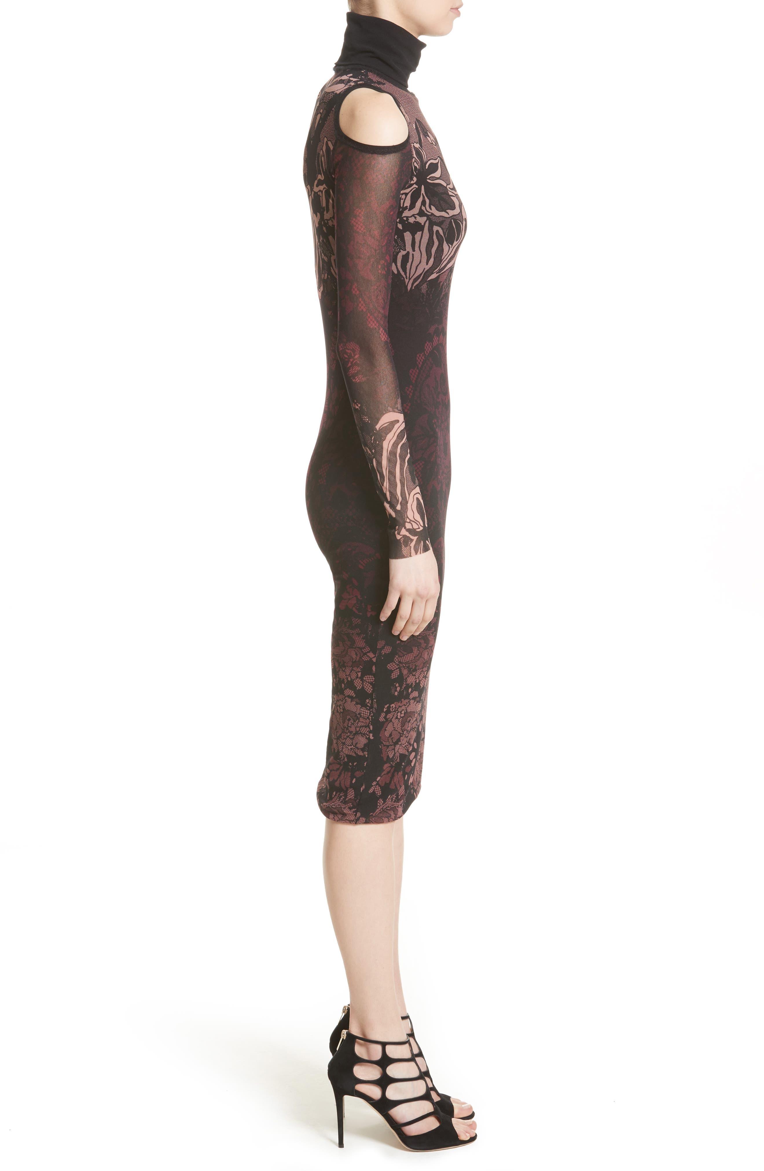Cold Shoulder Tulle Turtleneck Dress,                             Alternate thumbnail 3, color,