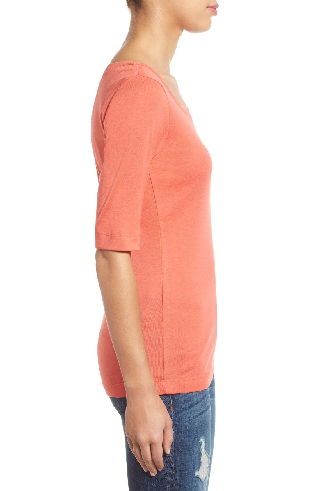Ballet Neck Cotton & Modal Knit Elbow Sleeve Tee,                             Alternate thumbnail 269, color,