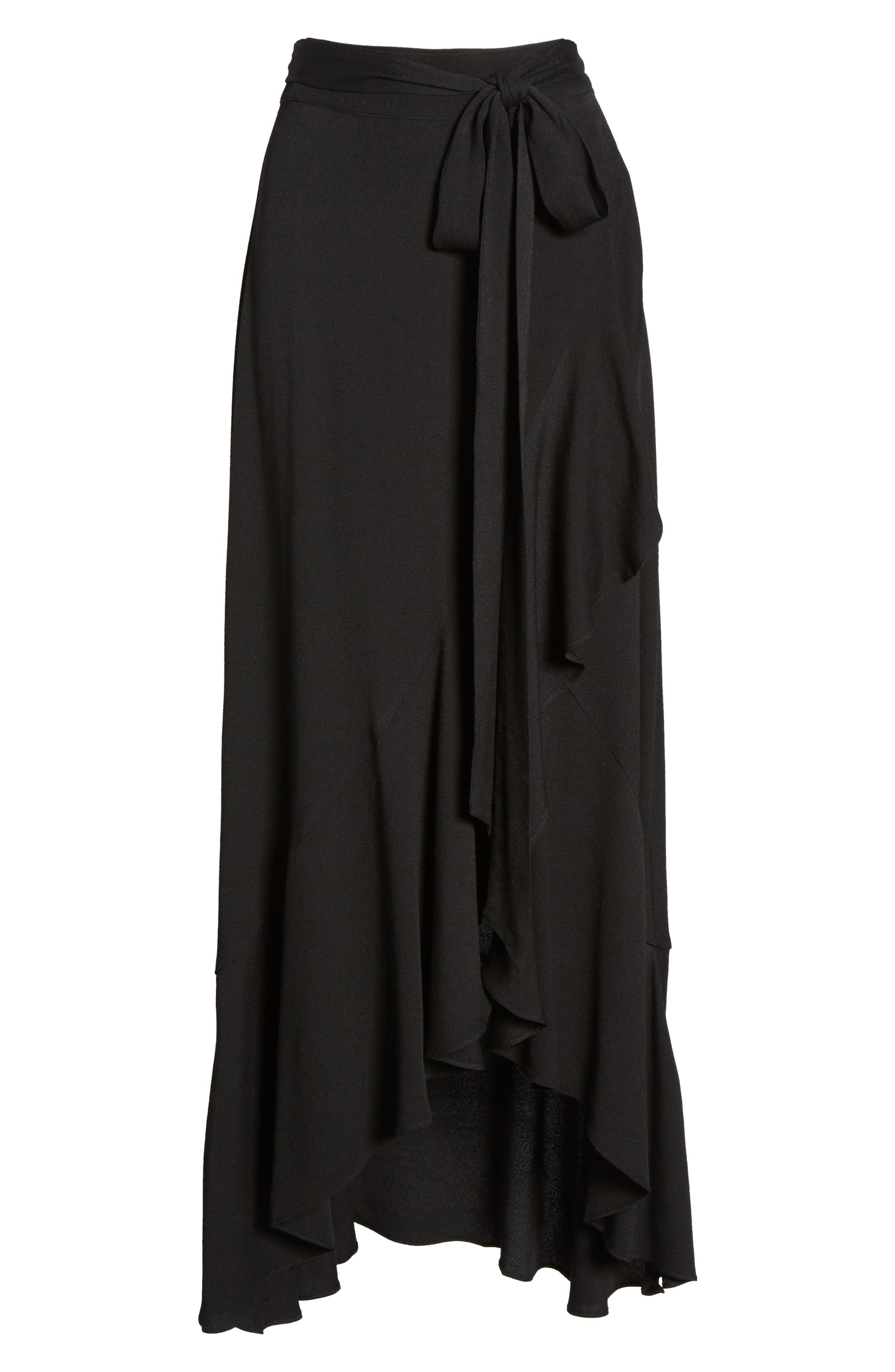 Amelia Ruffle Wrap Skirt,                             Alternate thumbnail 6, color,                             001