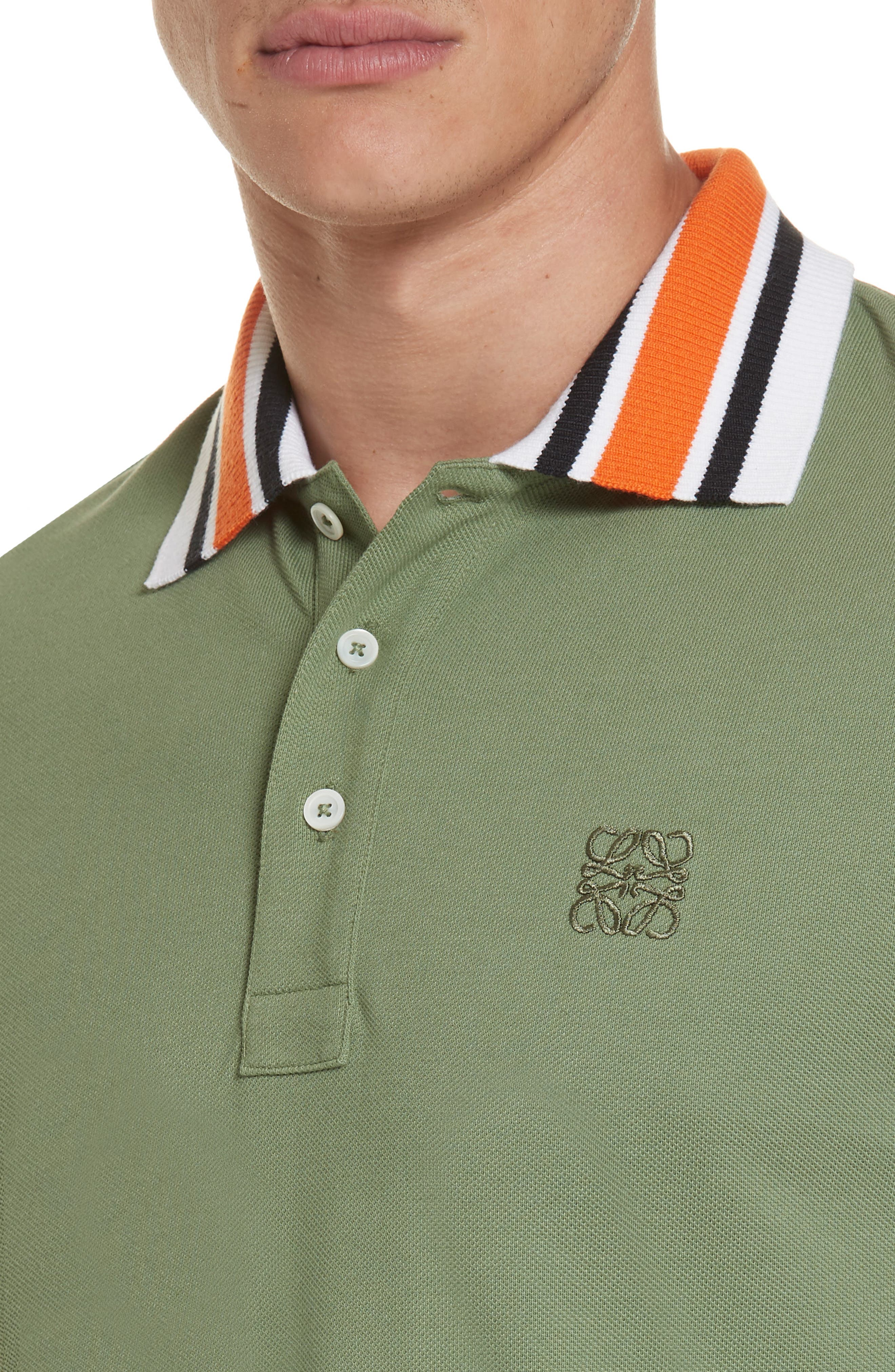 Rib Collar Piqué Polo,                             Alternate thumbnail 4, color,                             KHAKI GREEN