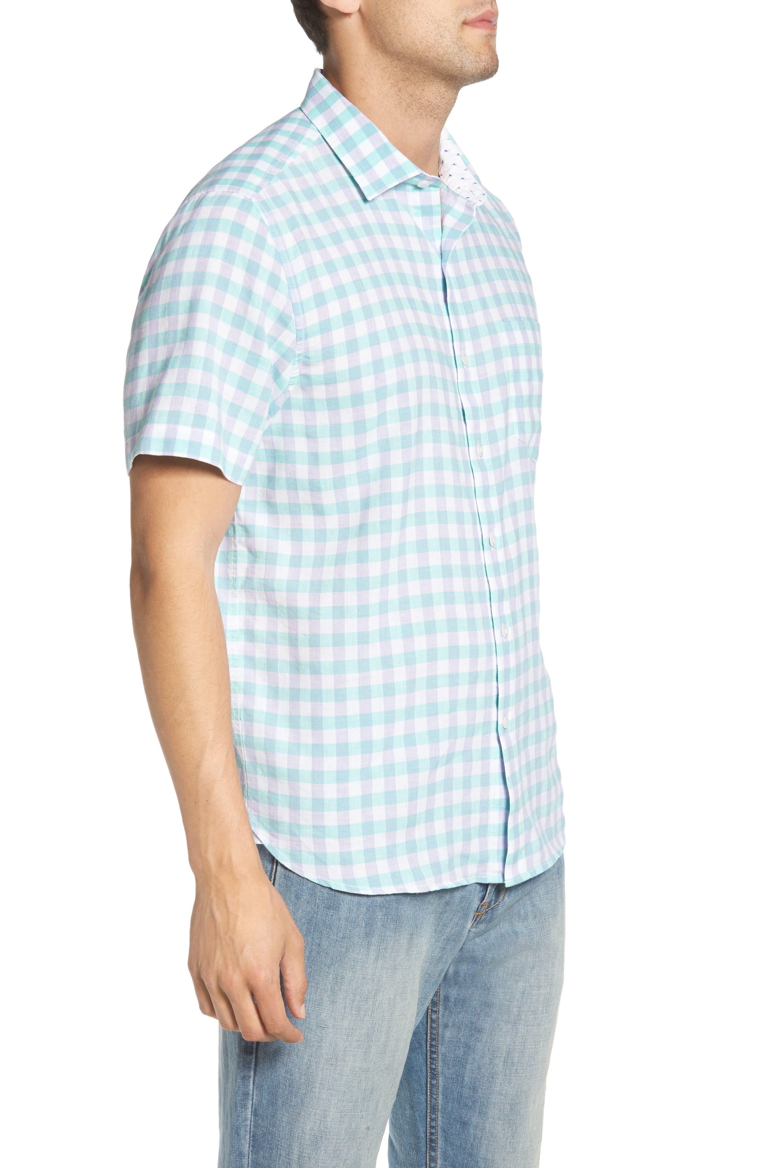 Gingham Del Toro Linen Blend Sport Shirt,                             Alternate thumbnail 6, color,