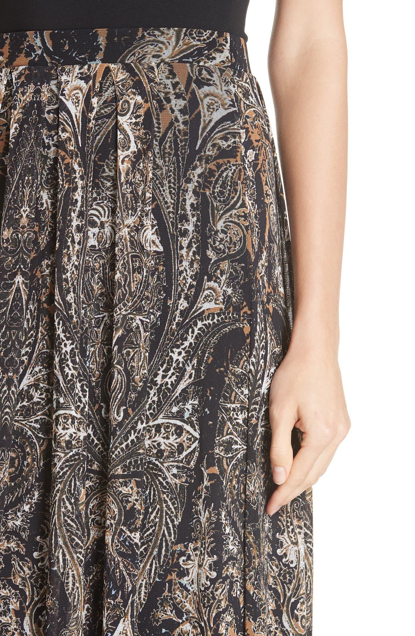 Paisley Tulle Midi Skirt,                             Alternate thumbnail 4, color,                             NERO
