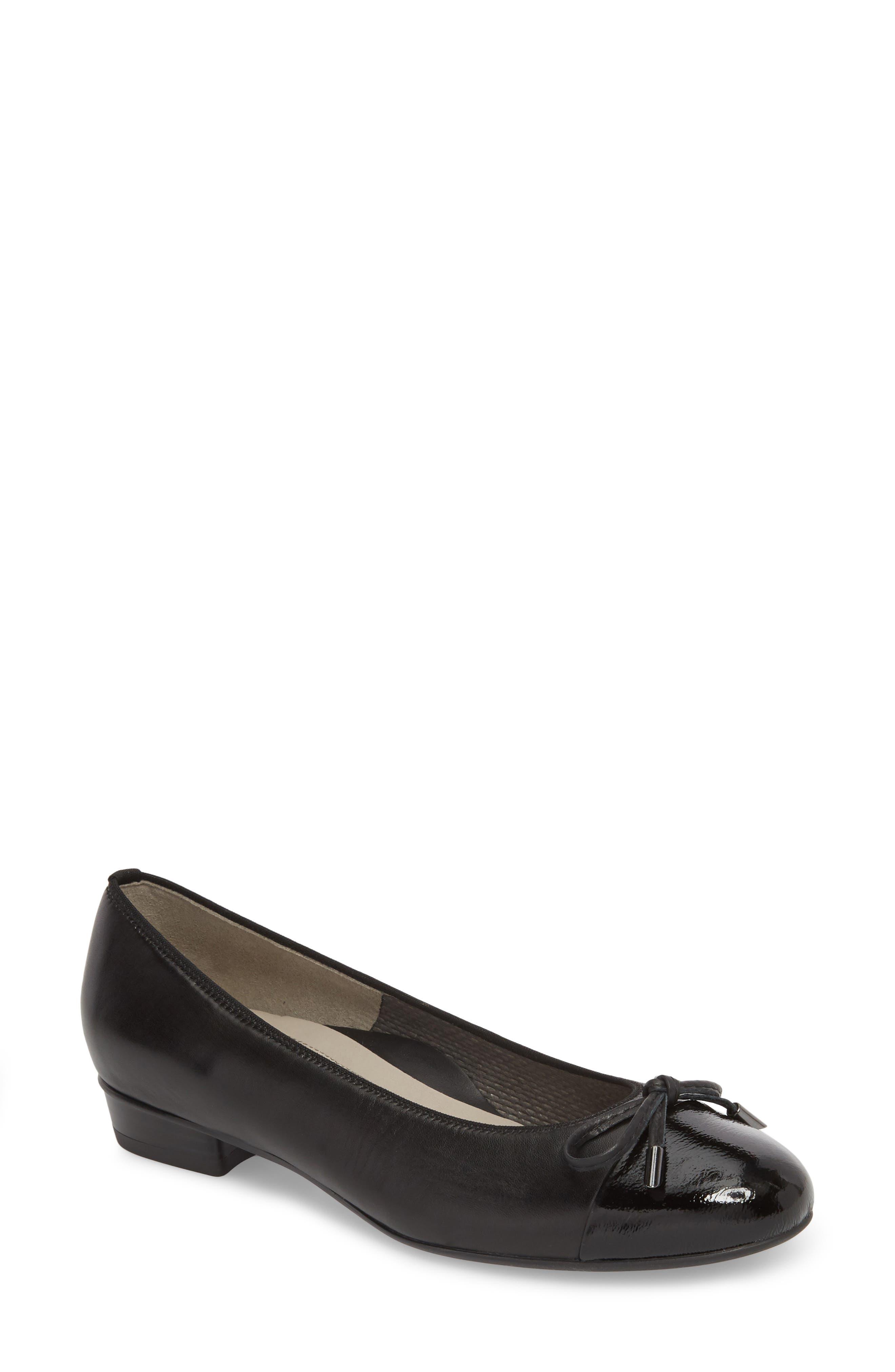 'Betty' Cap Toe Flat,                         Main,                         color, BLACK/ BLACK LEATHER
