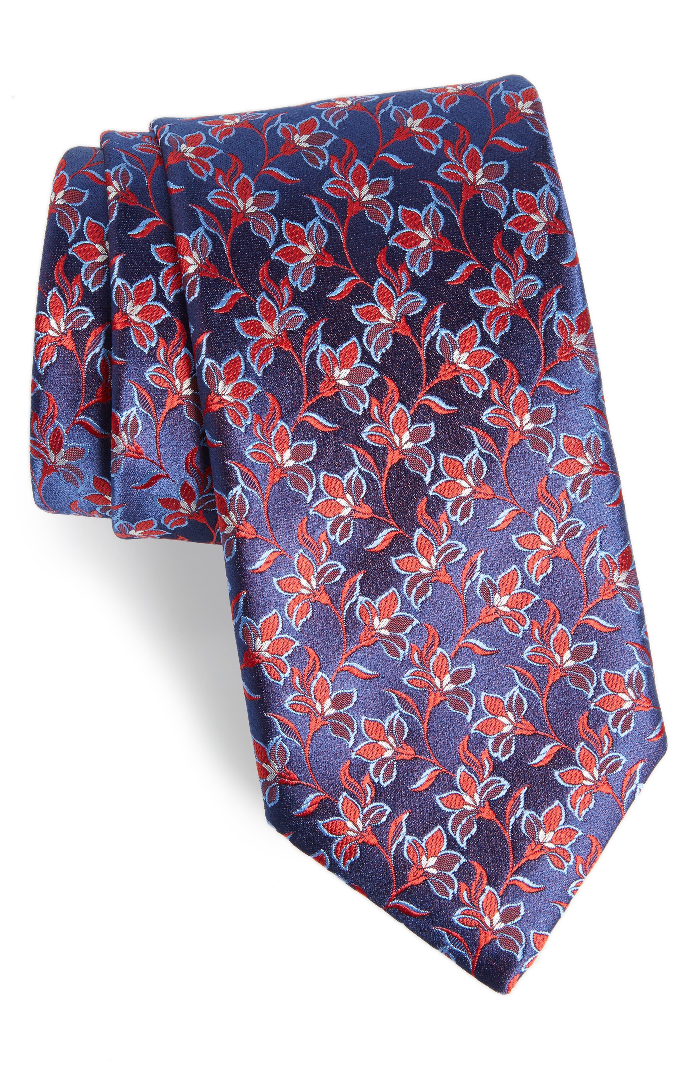 Floral Silk Tie,                             Main thumbnail 1, color,                             401