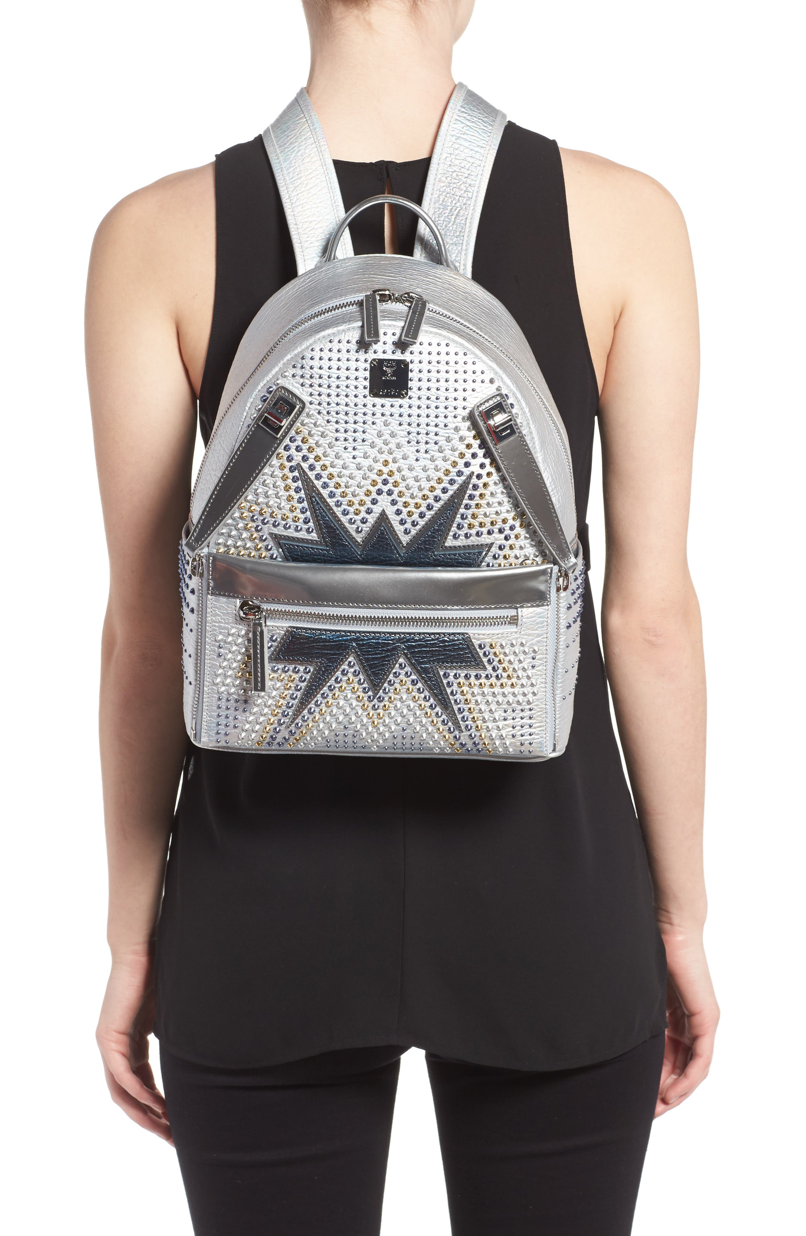 Dual Stark Studded Leather Backpack,                             Alternate thumbnail 4, color,