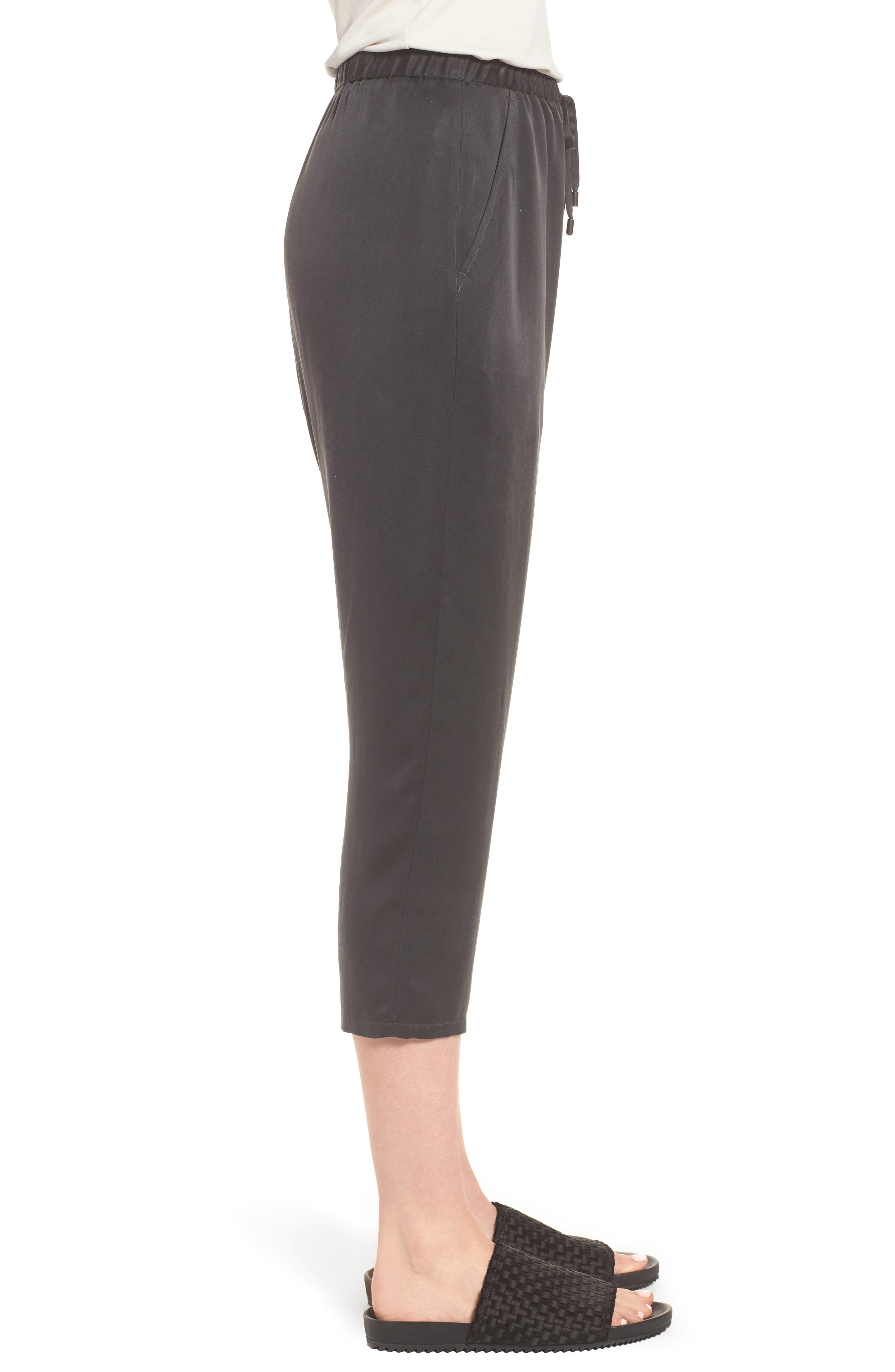 EILEEN FISHER,                             Slouchy Silk Crop Pants,                             Alternate thumbnail 3, color,                             025