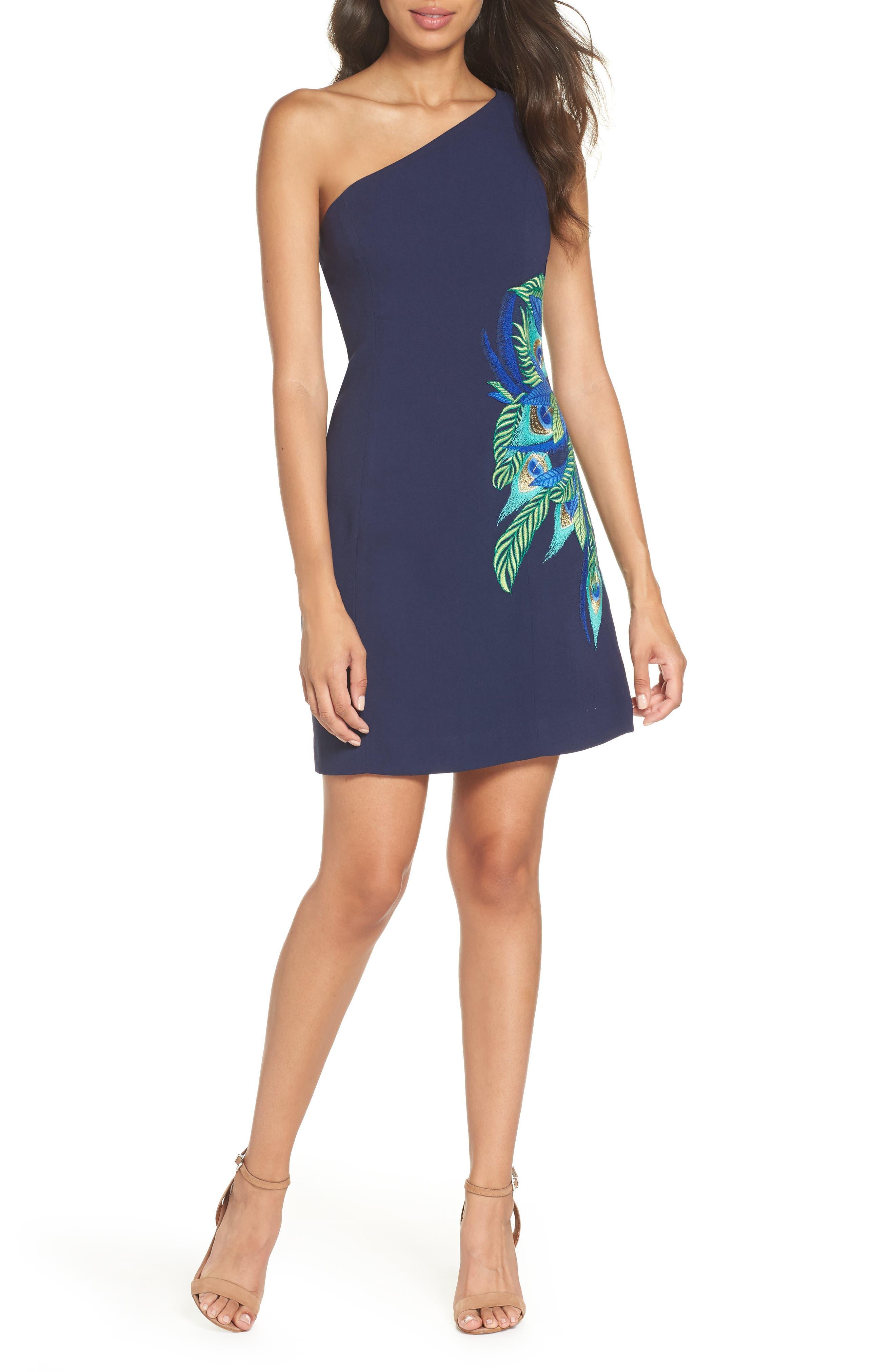 Lily Pulitzer<sup>®</sup> Jamie One-Shoulder Dress,                             Main thumbnail 1, color,                             TRUE NAVY
