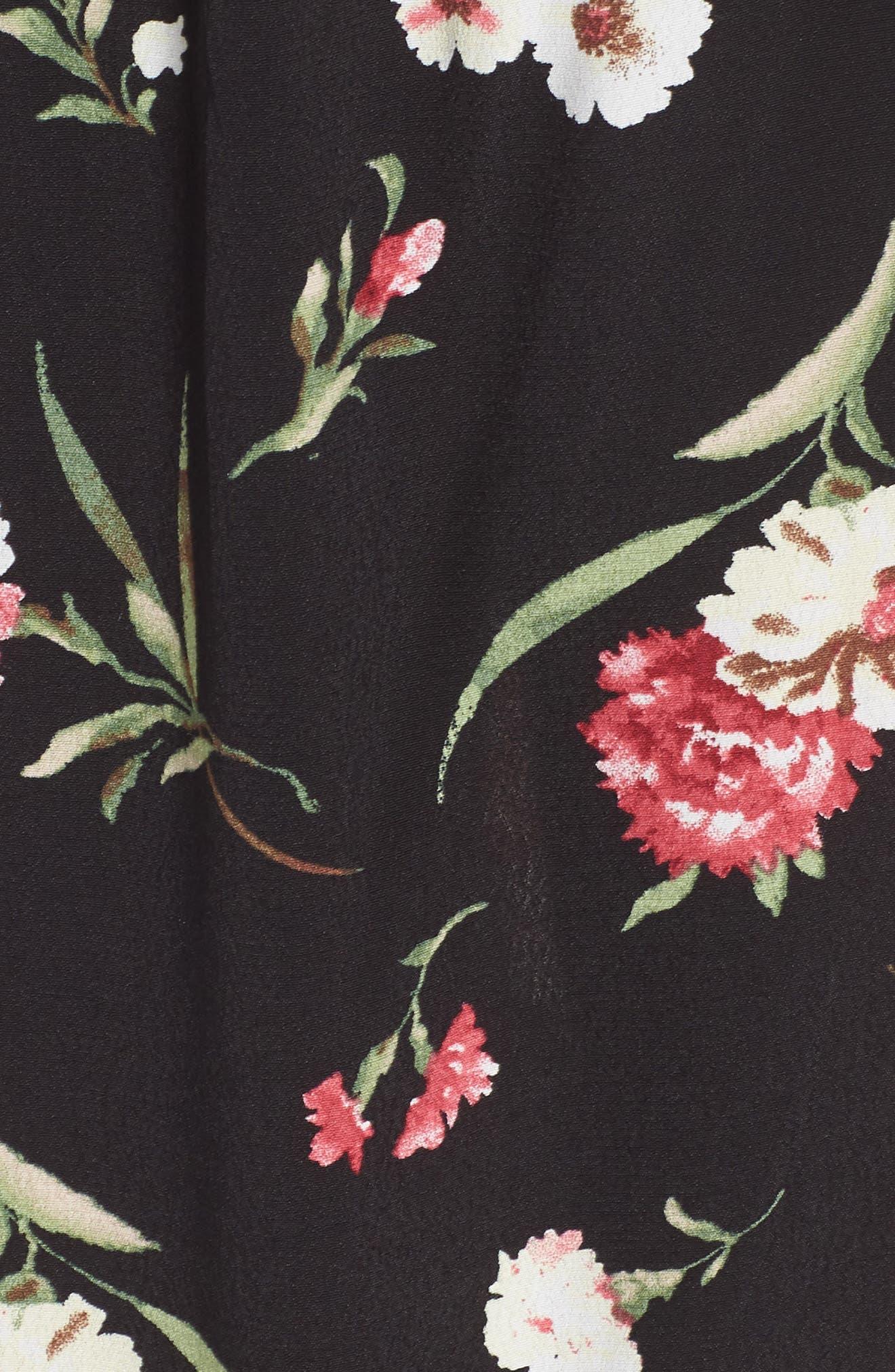 Tie Front Floral Dress,                             Alternate thumbnail 5, color,                             001