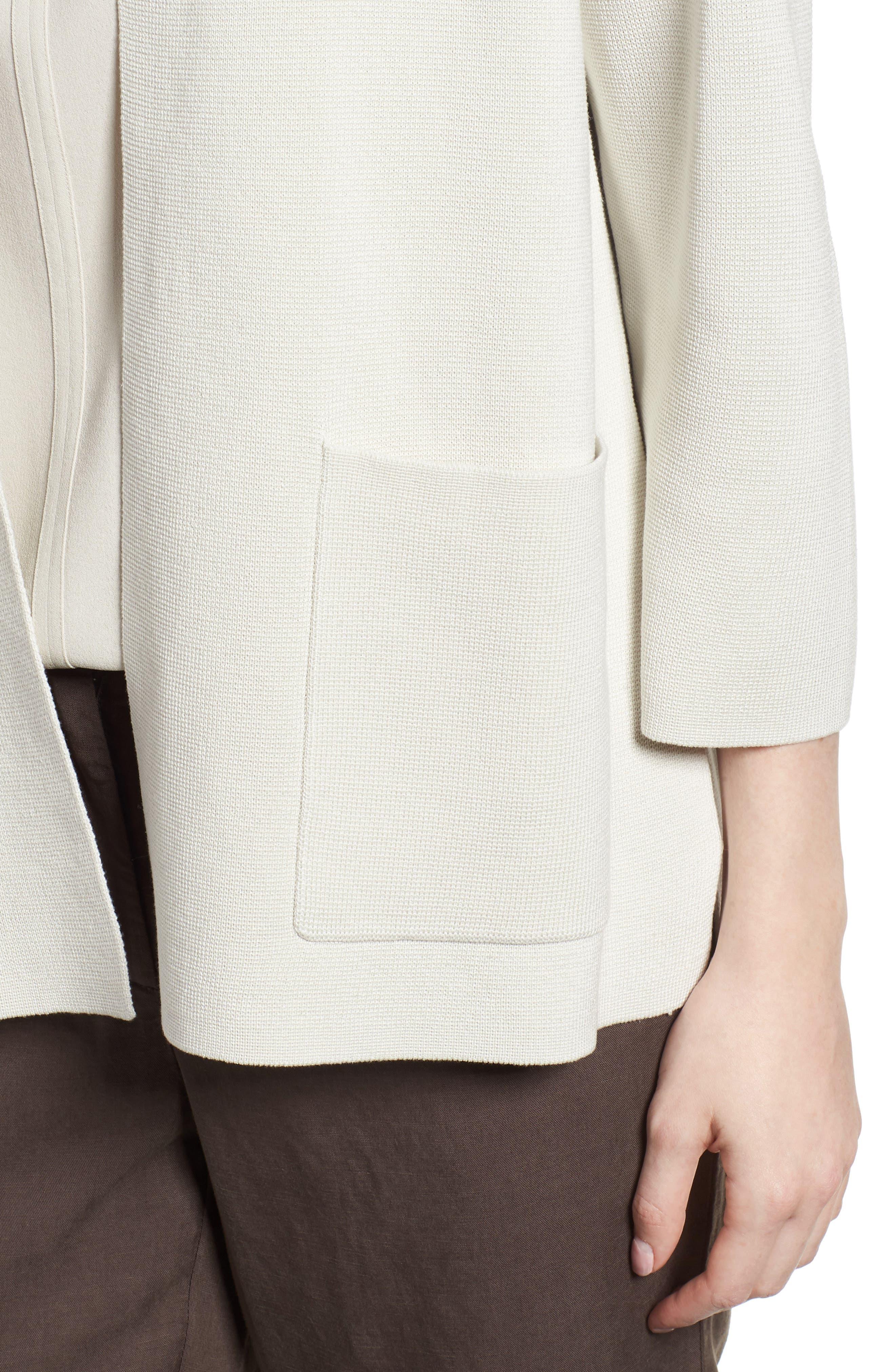 Stand Collar Silk & Organic Cotton Cardigan,                             Alternate thumbnail 9, color,