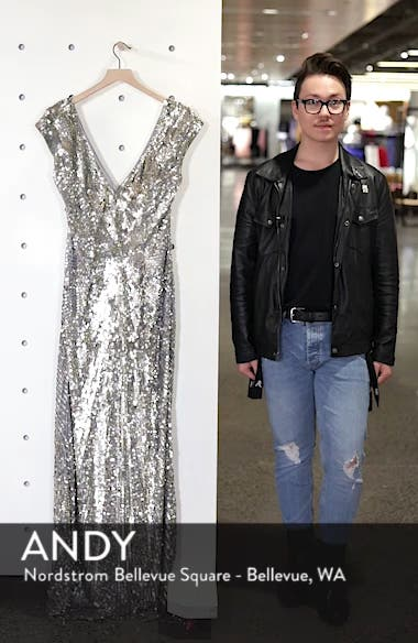 Sequin Plunging V-Neck Gown, sales video thumbnail