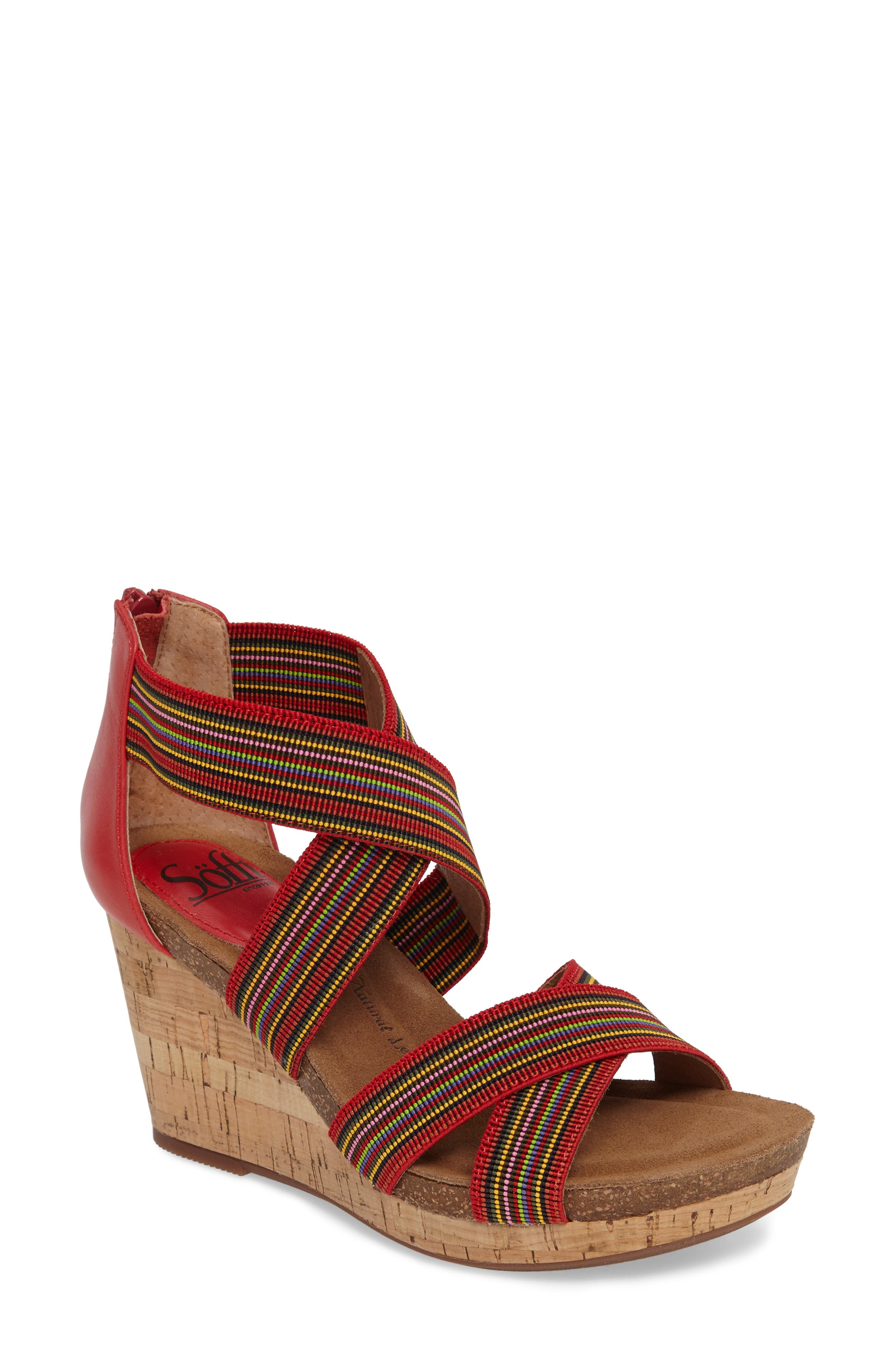 Cary Cross Strap Wedge Sandal,                             Main thumbnail 3, color,