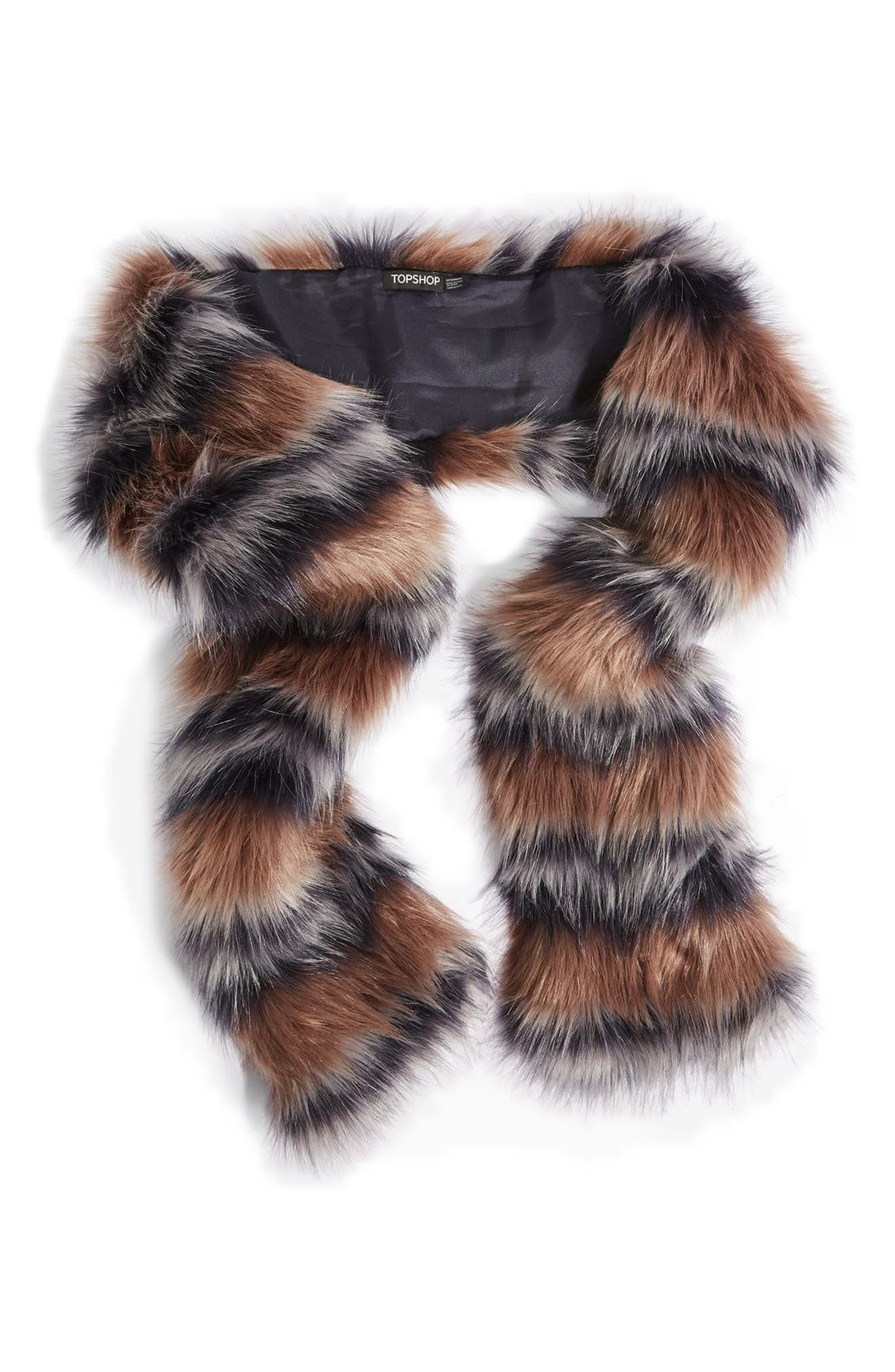Tonal Stripe Faux Fur Scarf,                             Alternate thumbnail 2, color,                             210