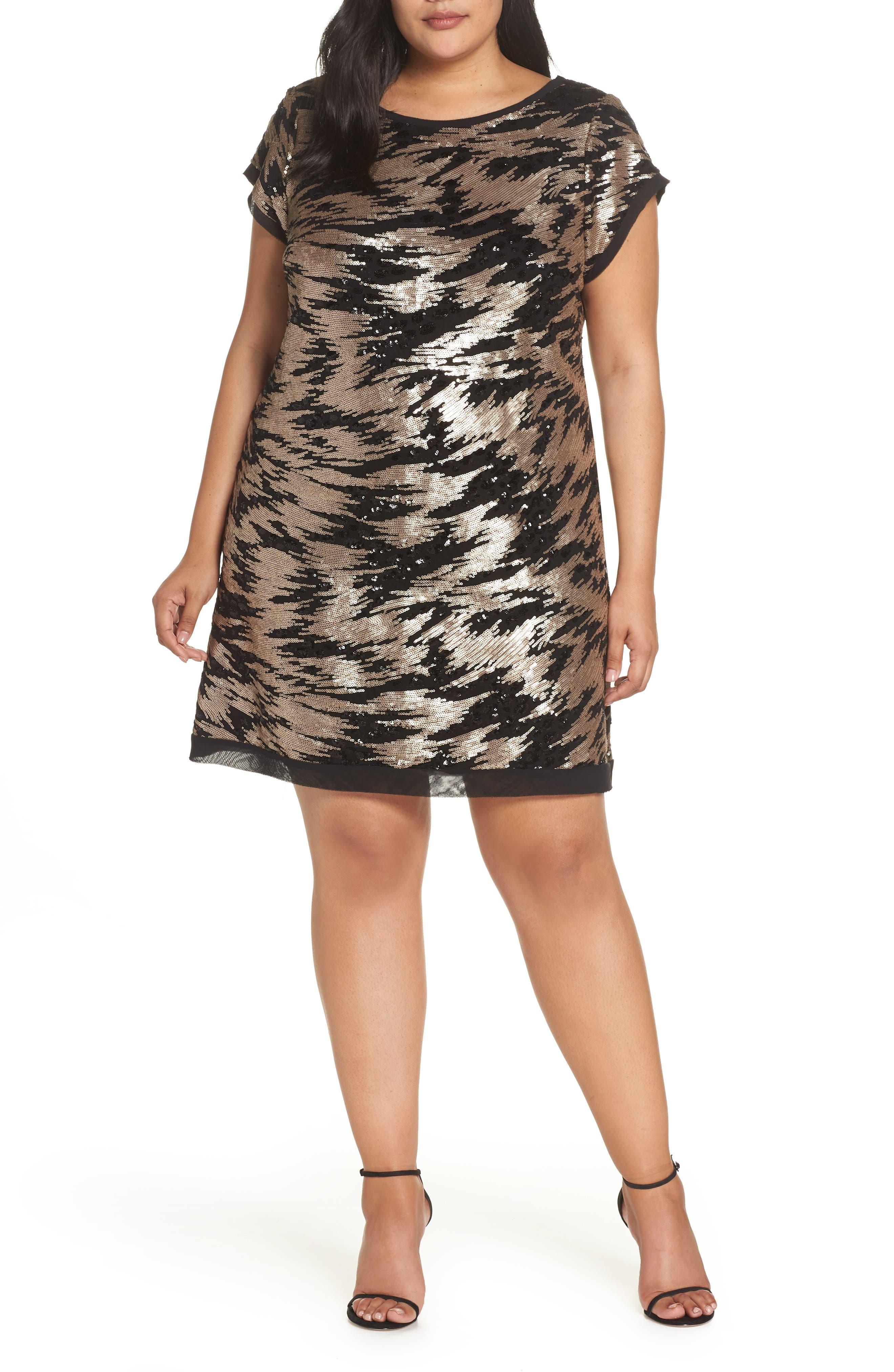 ELIZA J Sequin Sheath Dress, Main, color, 002